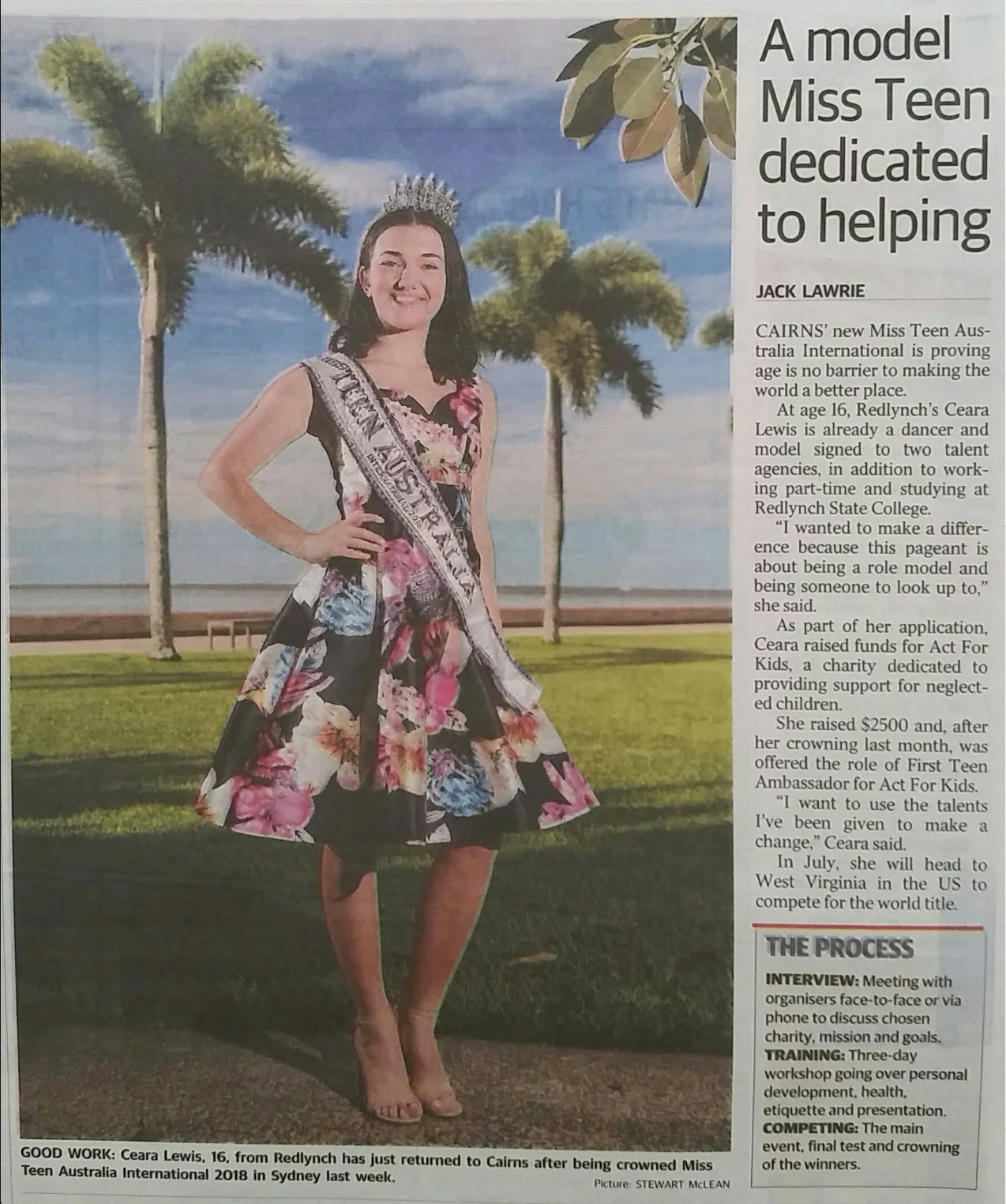 Miss teen AUSTRALIA international 2018 Ceara Lewis