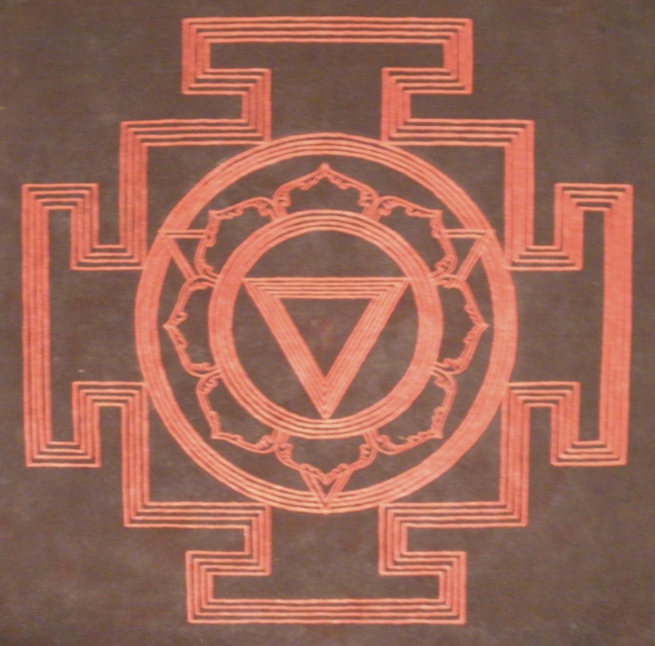 Smashan Kali Yantra. Acrylic on felt. 2009