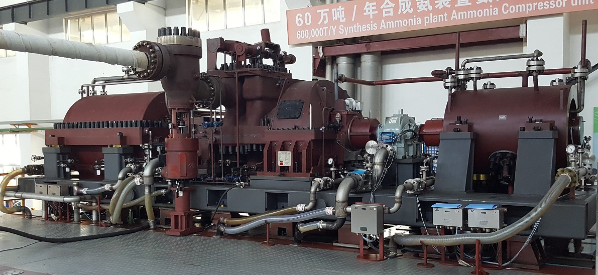 Wualn CO2 Train mounted on Test Bed No.3: from left to right LP Casing – Steam Turbine – Gear Box – HP casing