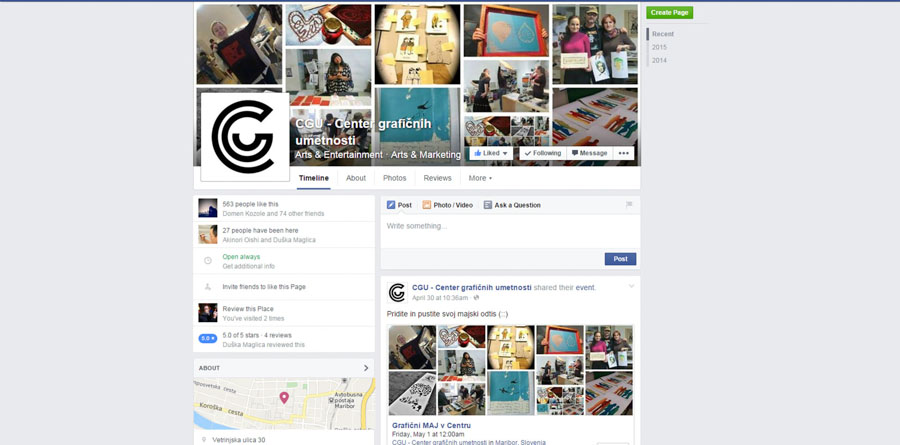 Facebook stran Centra grafičnih umetnosti