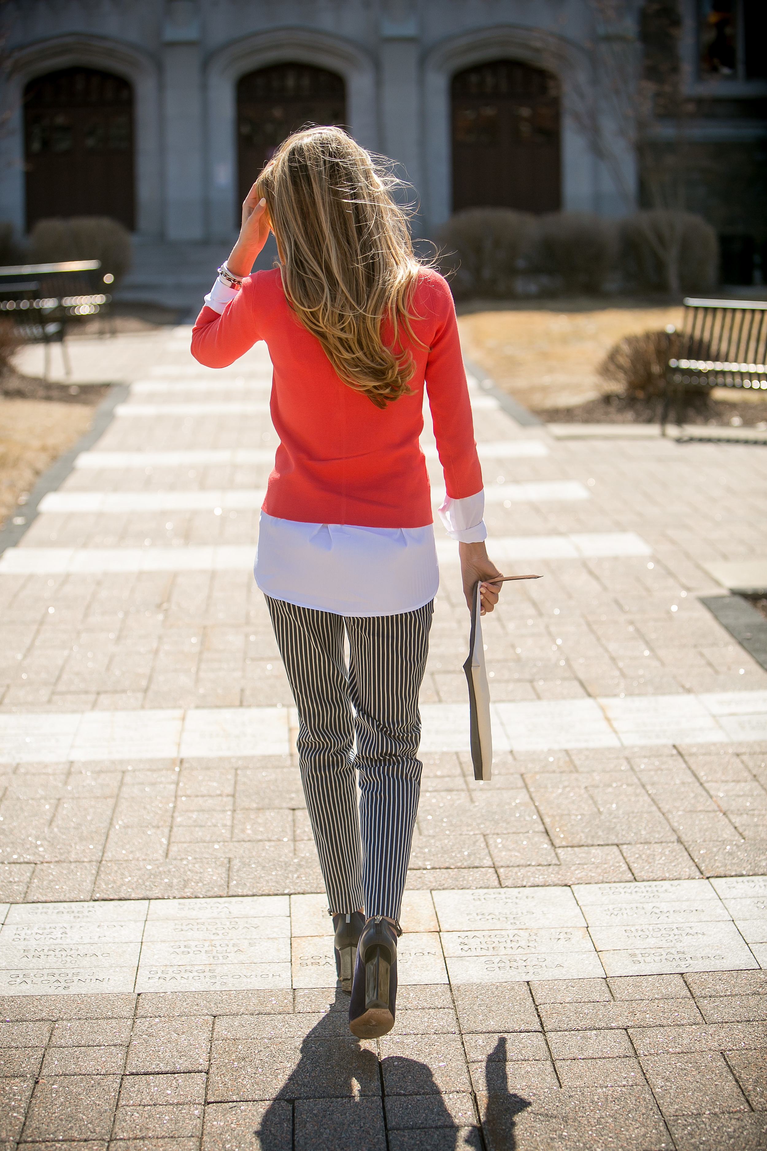 Pants:   Ann Taylor  | Sweater:   Ann Taylor  | Booties:   Jimmy Choo  | Pouch:   Banana Republic