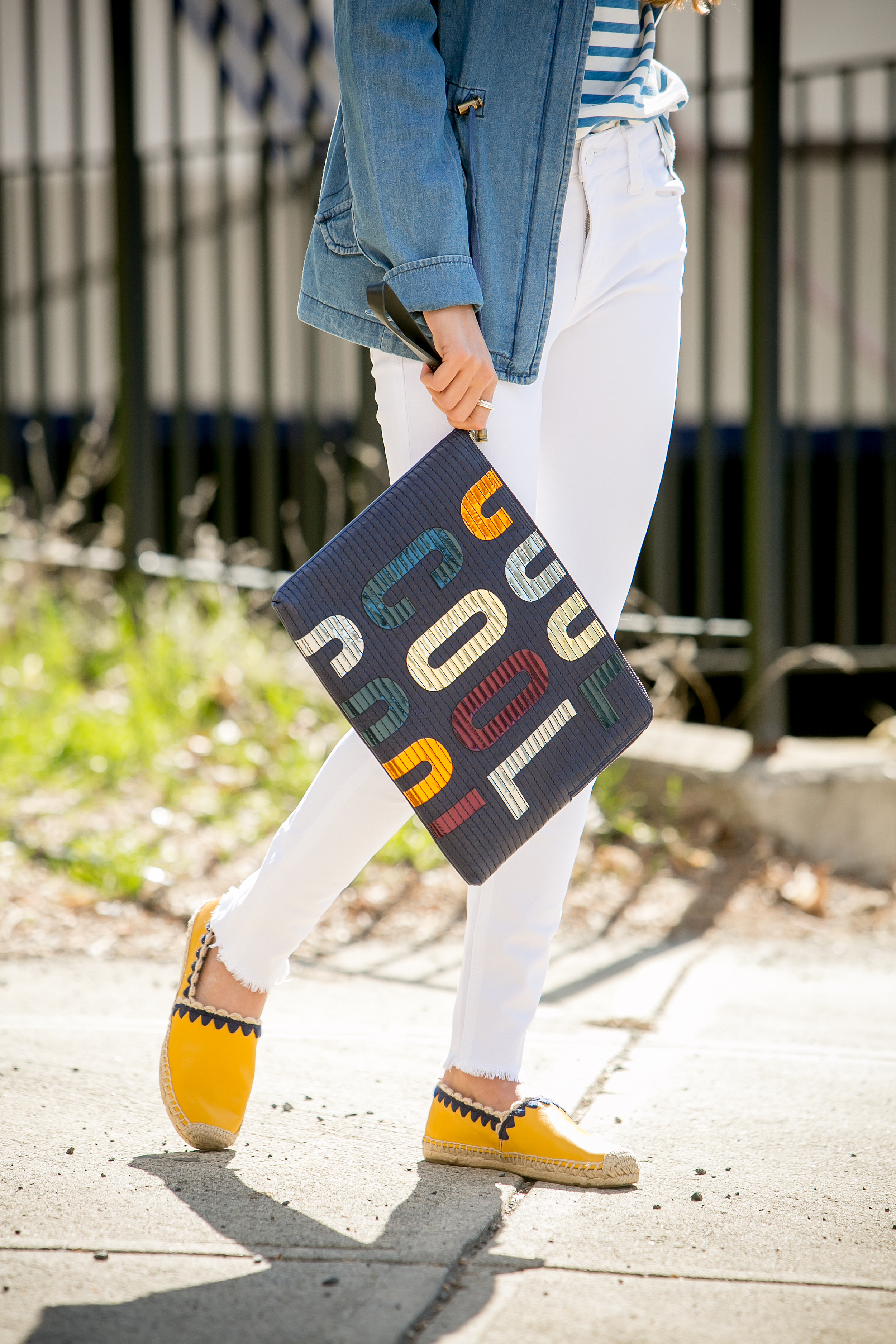 Tee:  JCrew  |Jacket:  Santa Fe Apparel  |Jeans:  Joe's Jeans  |Espadrilles:  Tory Burch  |Clutch:Lanvin ( sold out )