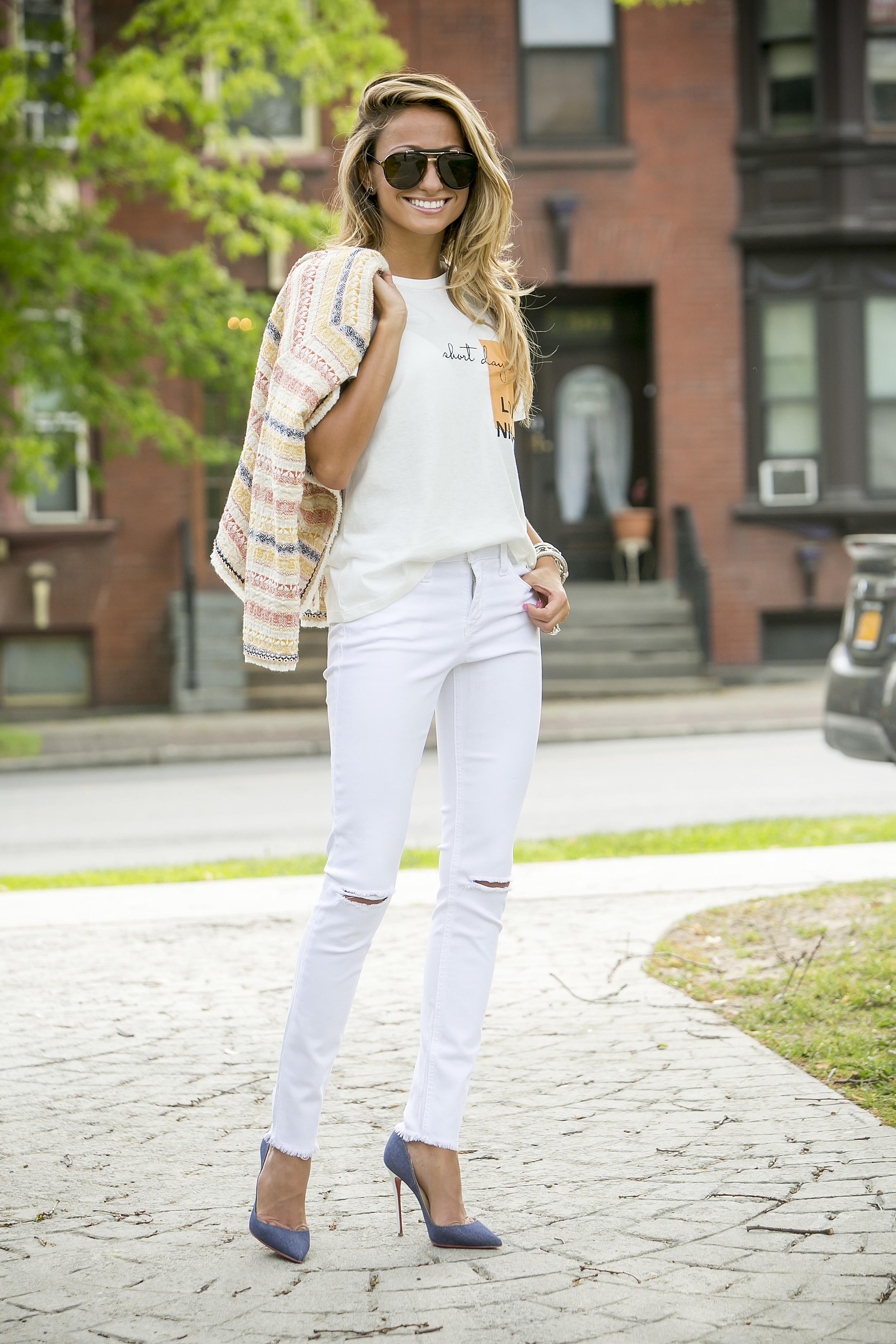 Tee:  Zara   Jacket:  Zara   Jeans:  Joe's Jeans   Pumps:  Christian Louboutin