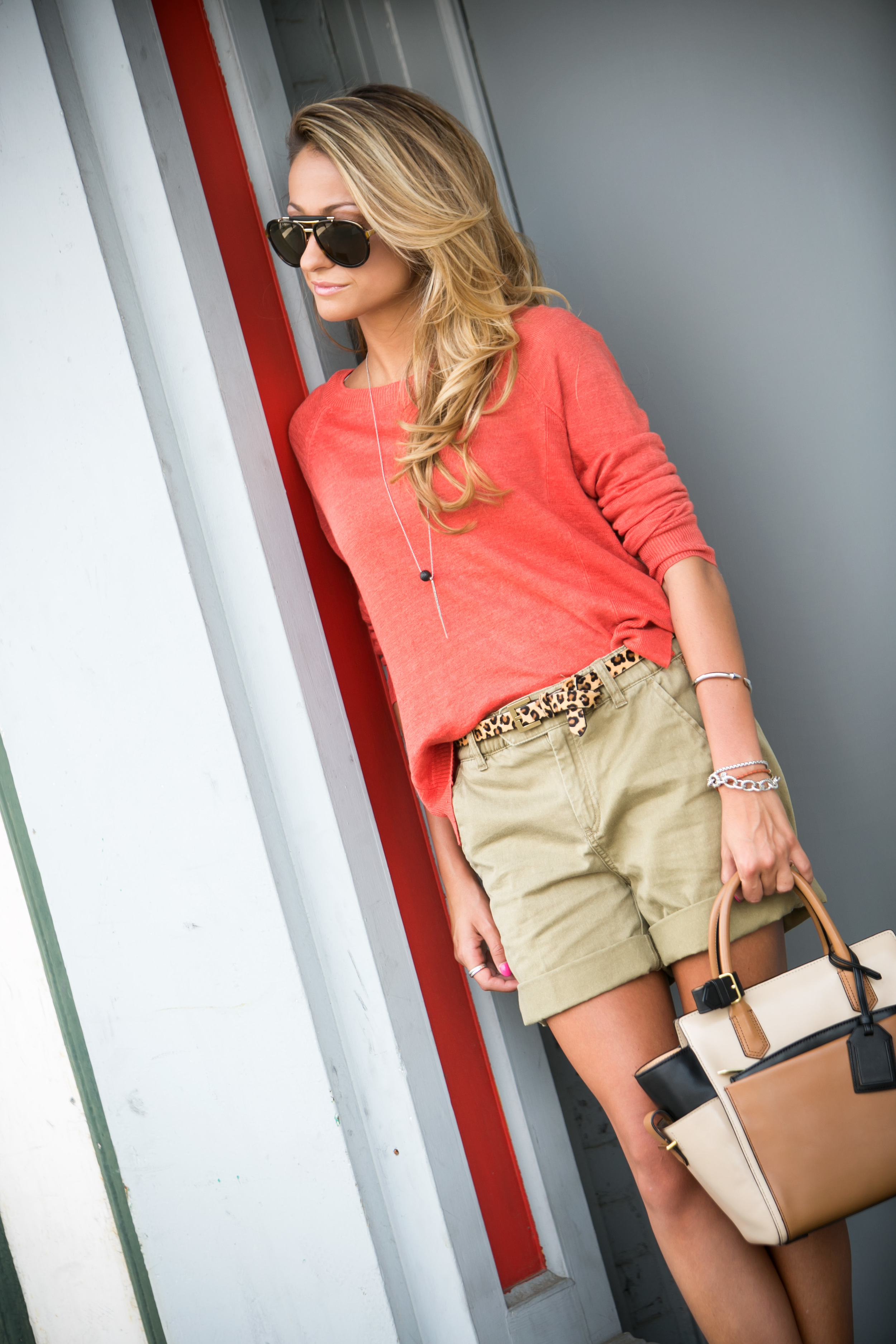 Jcrew: Sweater | Shorts | Belt |Bag:Reed Krakoff ( Last Seen Here )| Pumps: Christian Louboutin