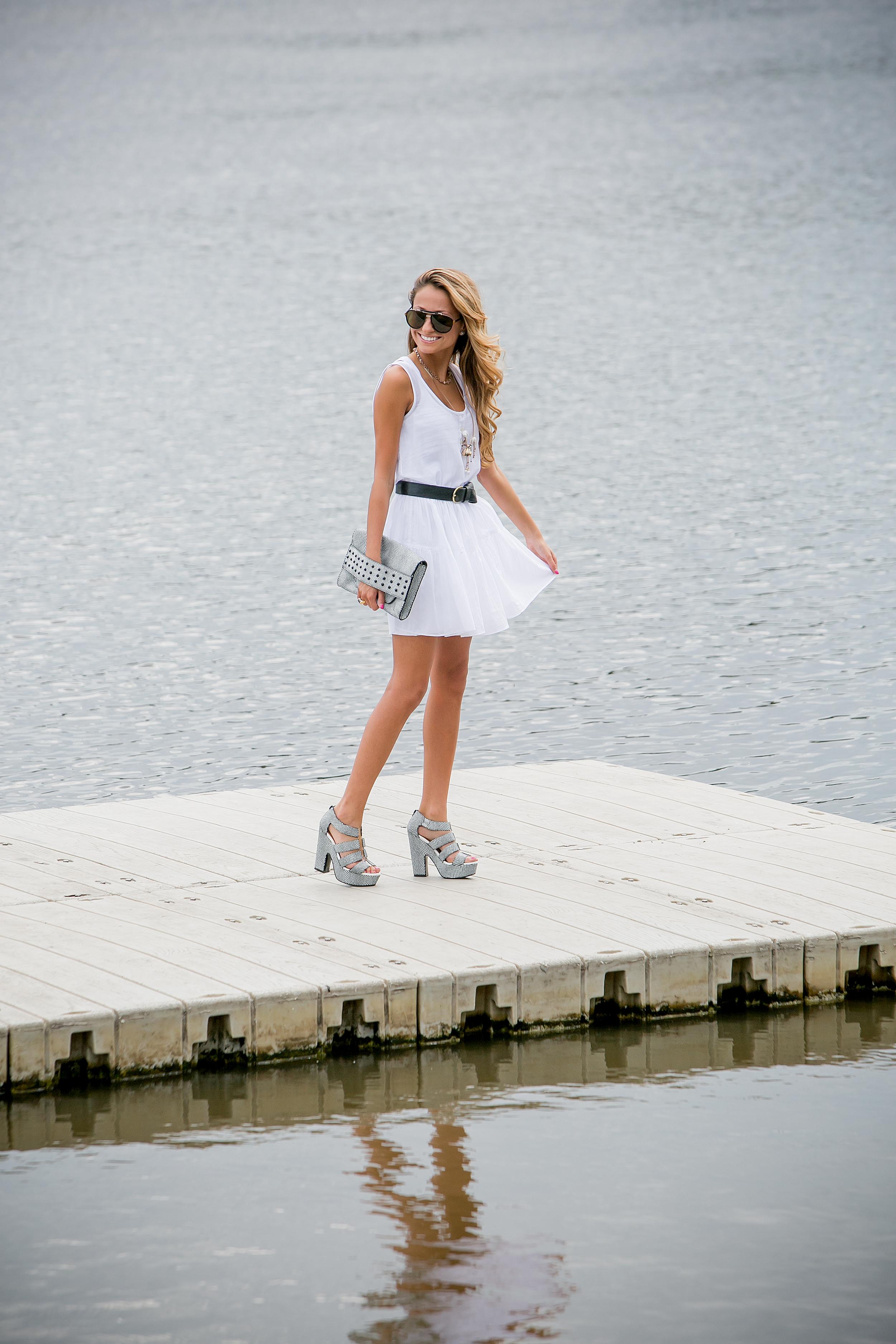Dress: JCrew |Shoes:Nanette Lepore (older)|Clutch: Milly
