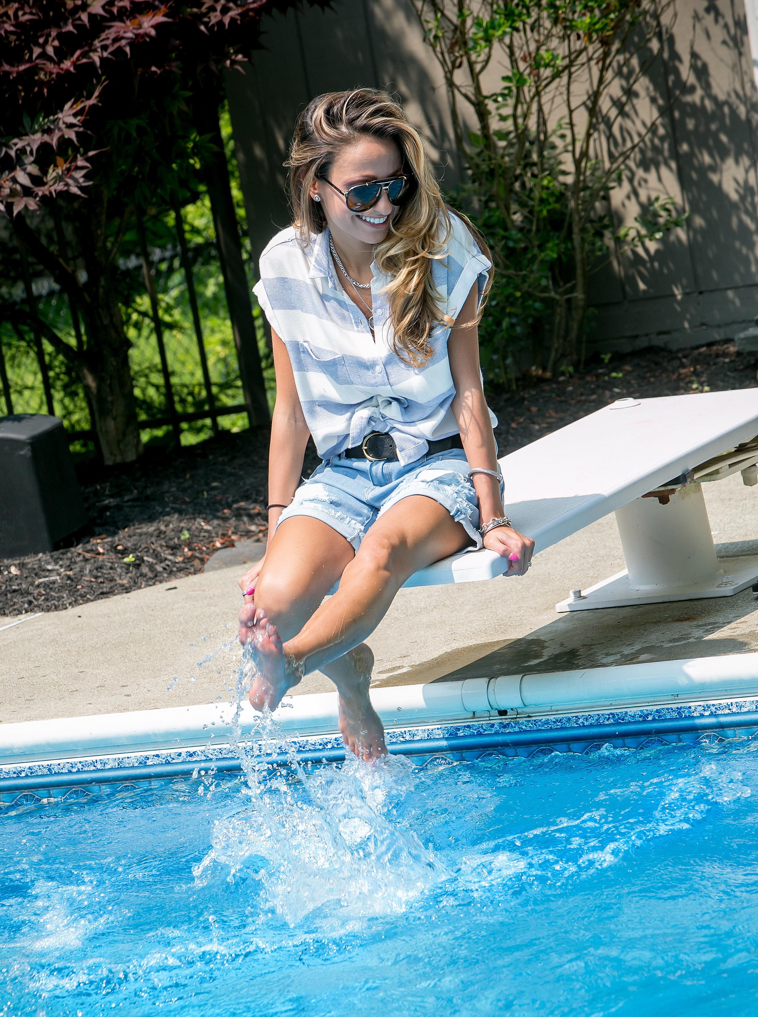 Shorts:Denimocracy ( Here in White )| Shirt:  Rails | Sandals:  Sophia Webster
