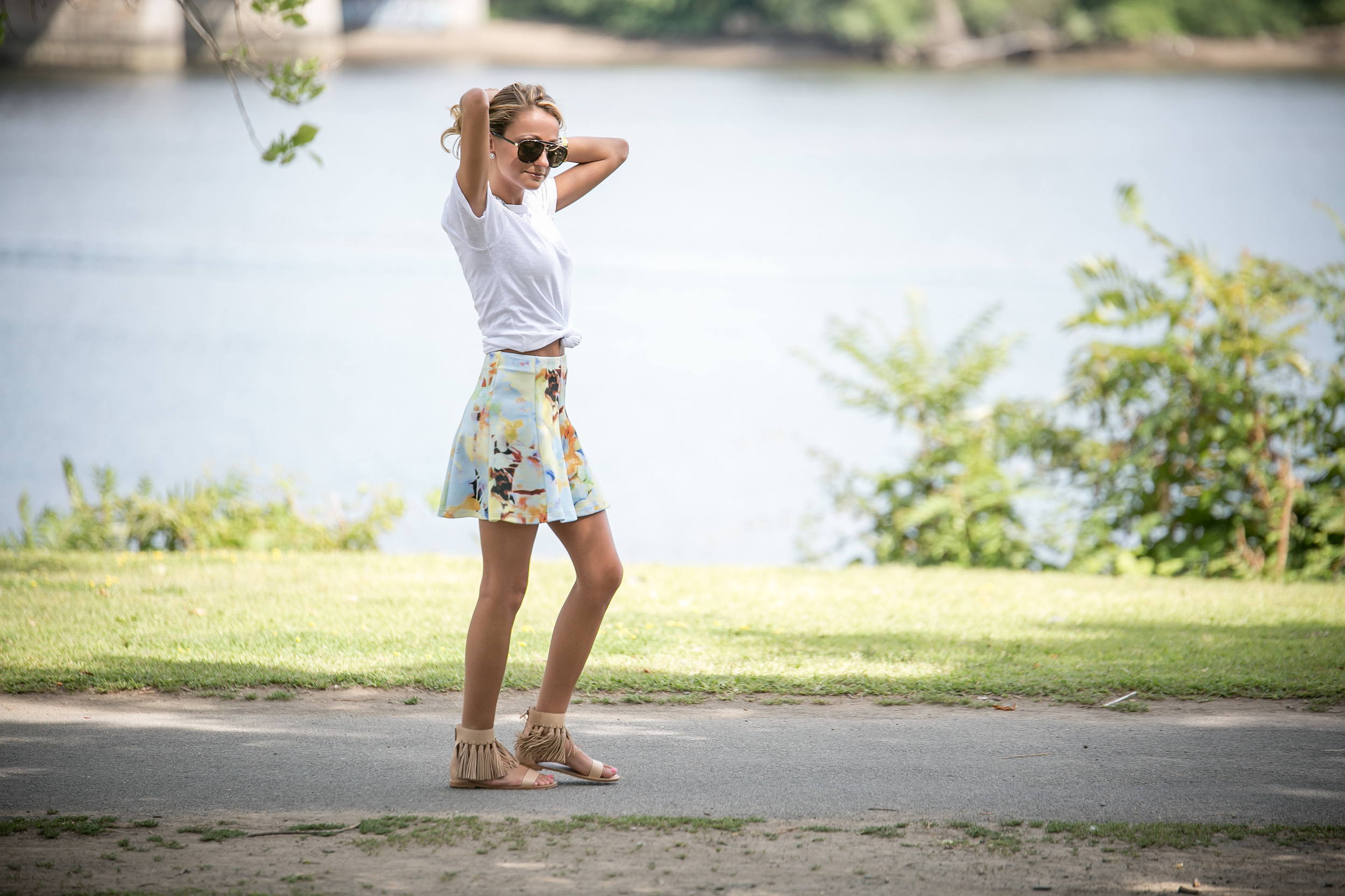 Skirt: J.O.A. |Tee: Currentt Elliott |Sandals:  Loeffler Randall     Dino Petrocelli Photography