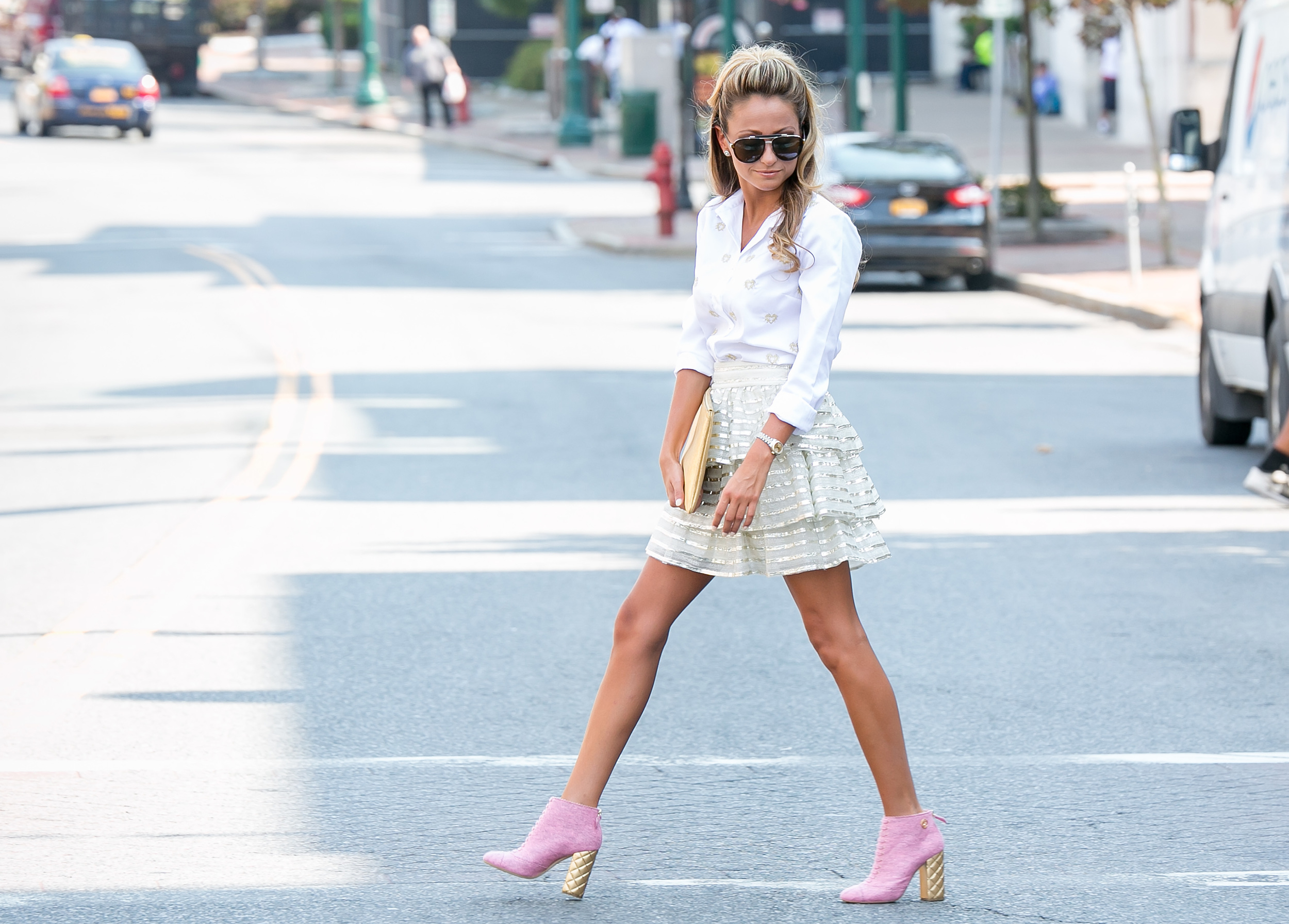 Alice and Olivia Skirt, Chanel boots, and J.Crew blouse
