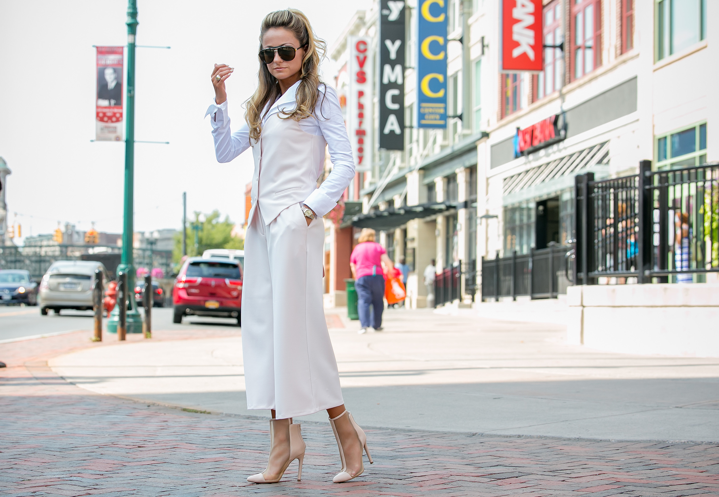Street style blogger North of Manhattan in co-ord set from Asos, Reed Krakoff shoes, Marc Jacobs sunglasses, and accessories by David Yurman, Chanel, and Rolex.