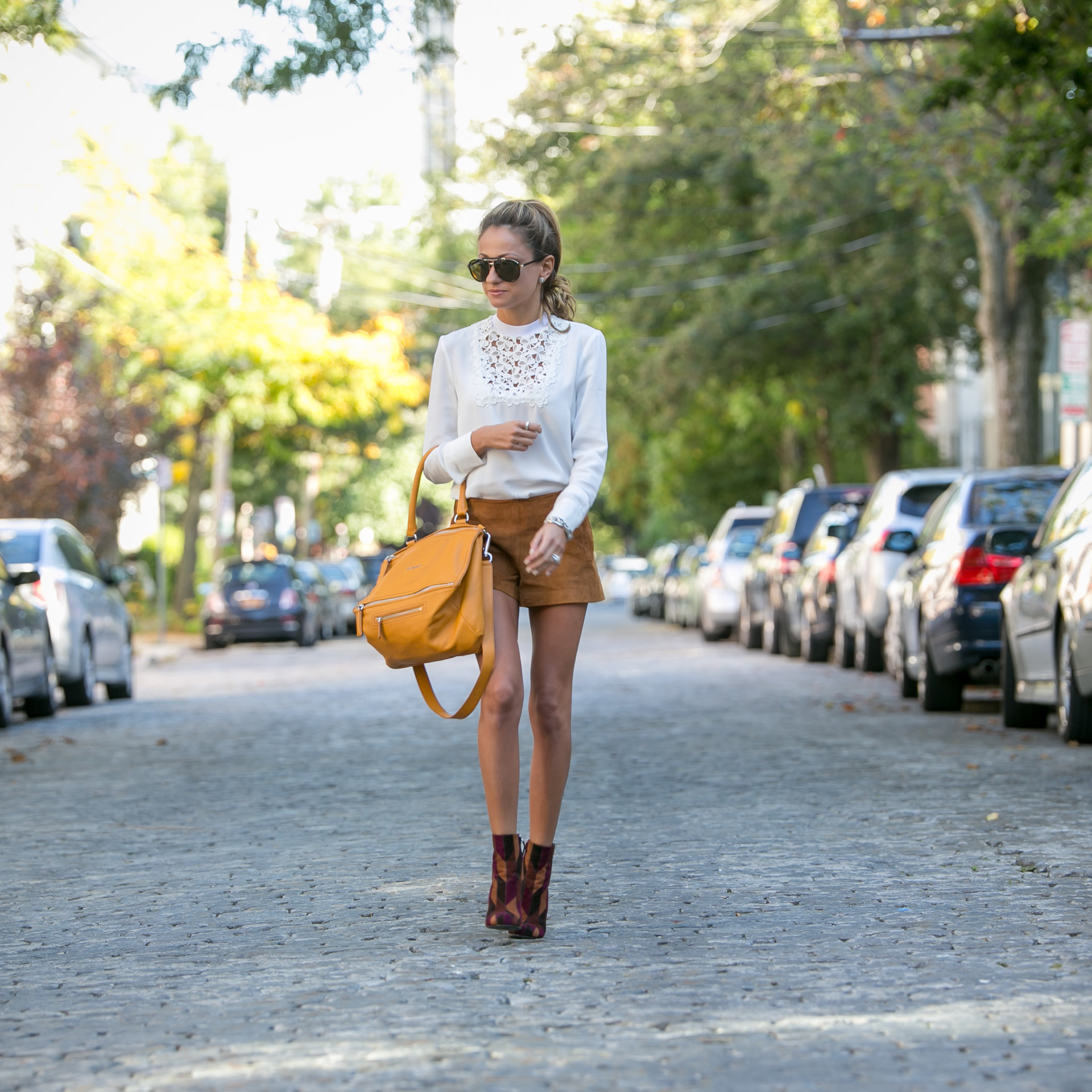 street style from North of Manhattan featuring suede items