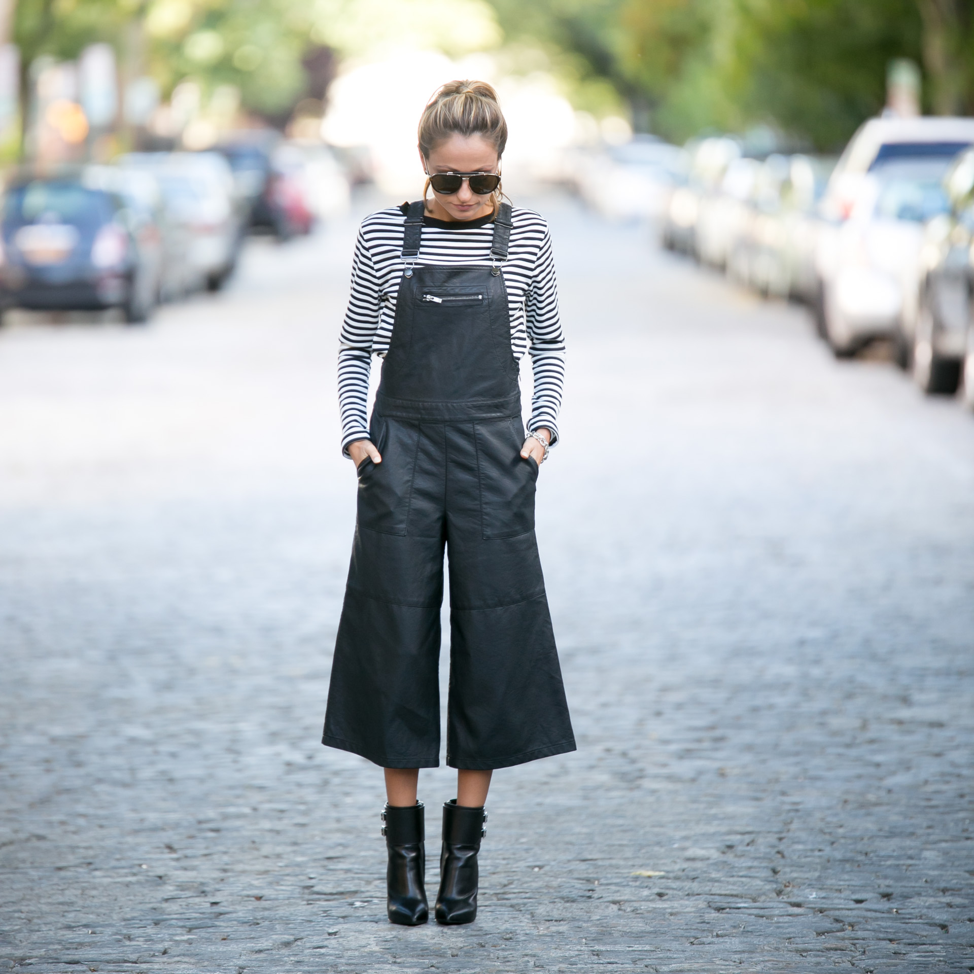 street style by north of manhattan in leather overall jumpsuit and striped top from TopShop