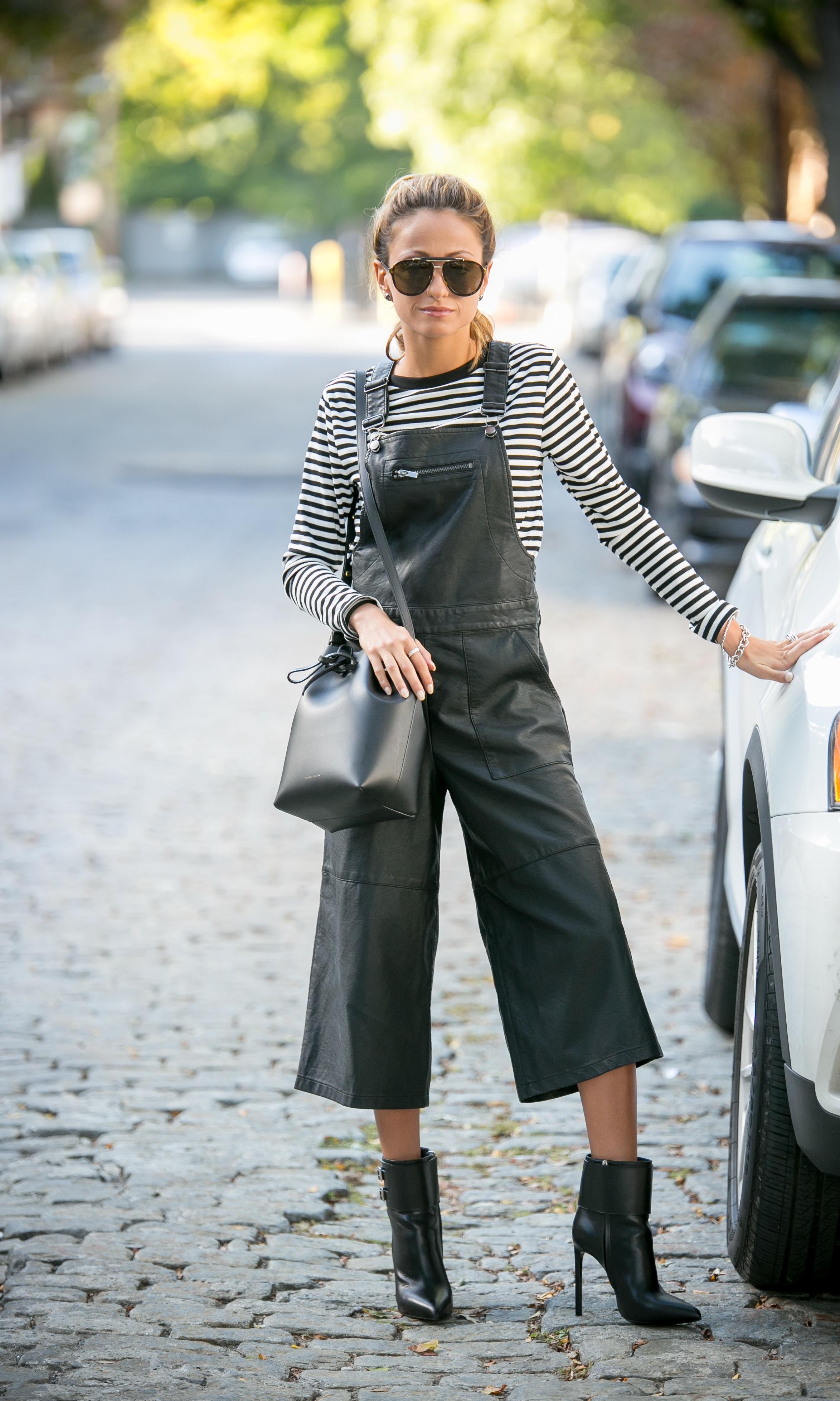 TopShop outfit, Mansur Gavriel bag, and Saint Laurent boots worn by Lauren Recchia