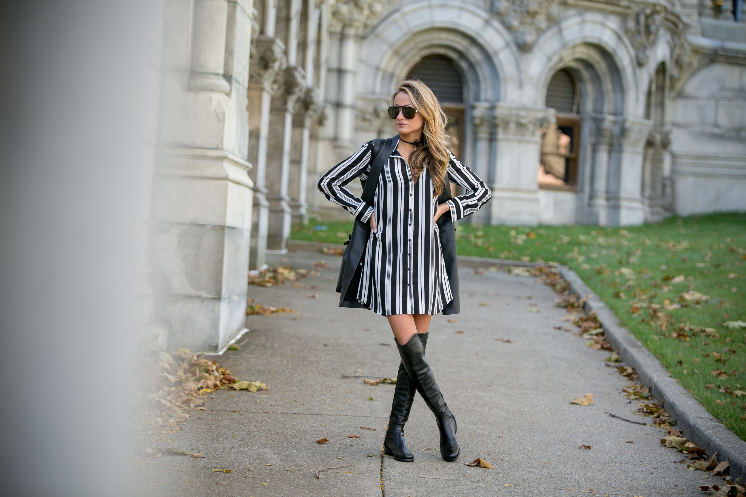 BB Dakota dress and Stuart Weitzman 50/50 boots