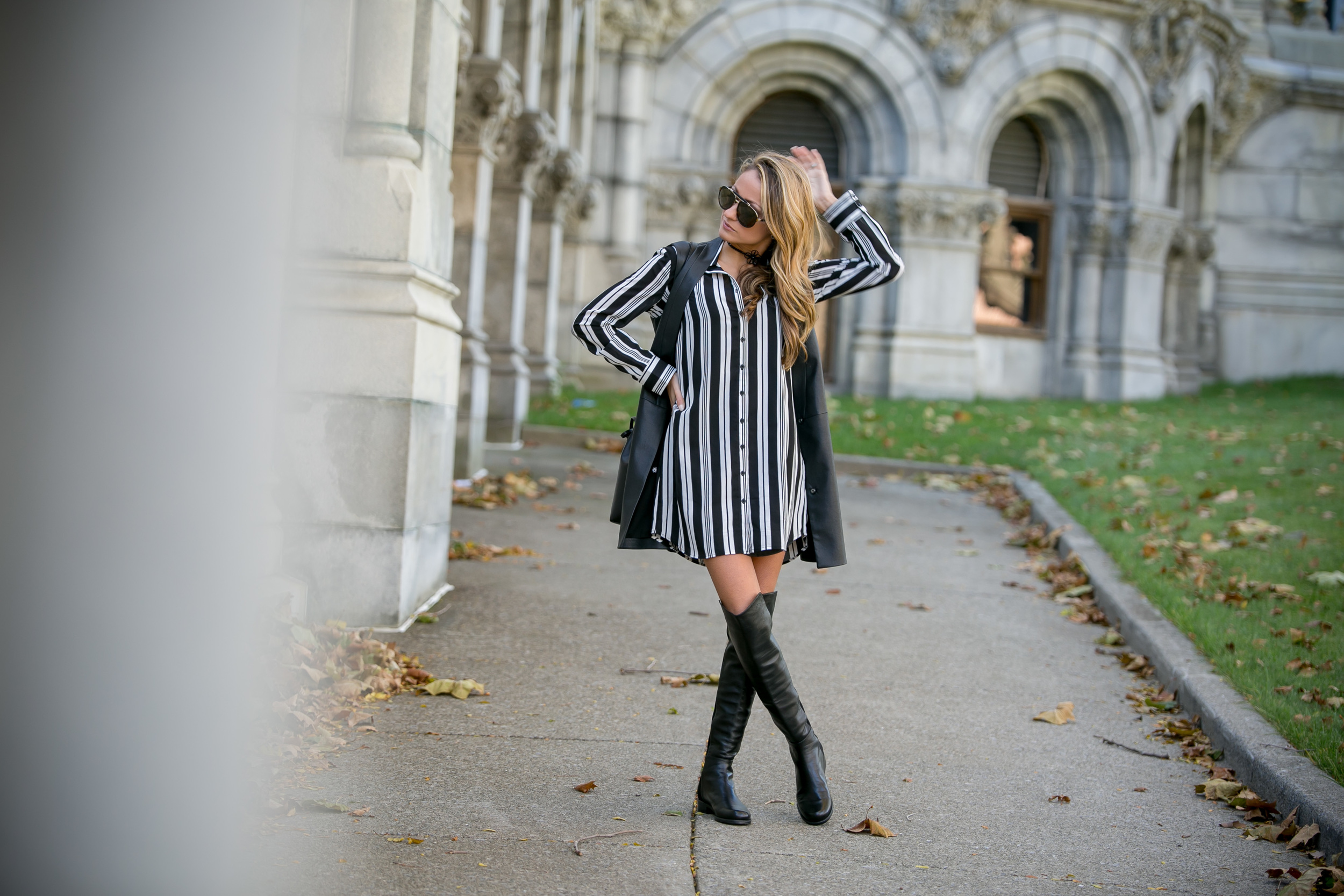 streetstyle by Lauren Recchia in striped dress and over-the-knee boots
