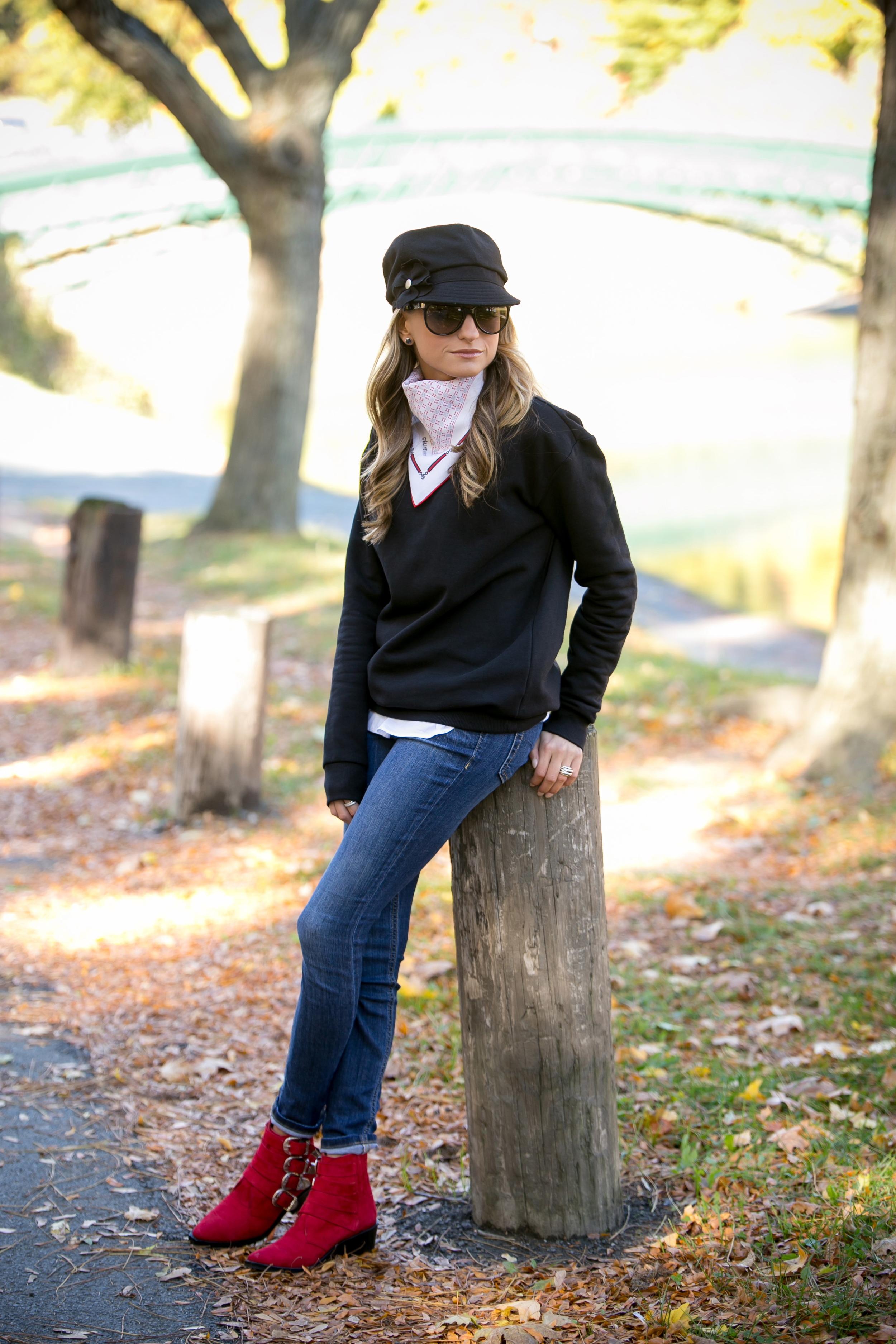 wearing H&M black sweatshirt, Joe's Jeans, Toga Pulla ankle boots, and vintage Celine