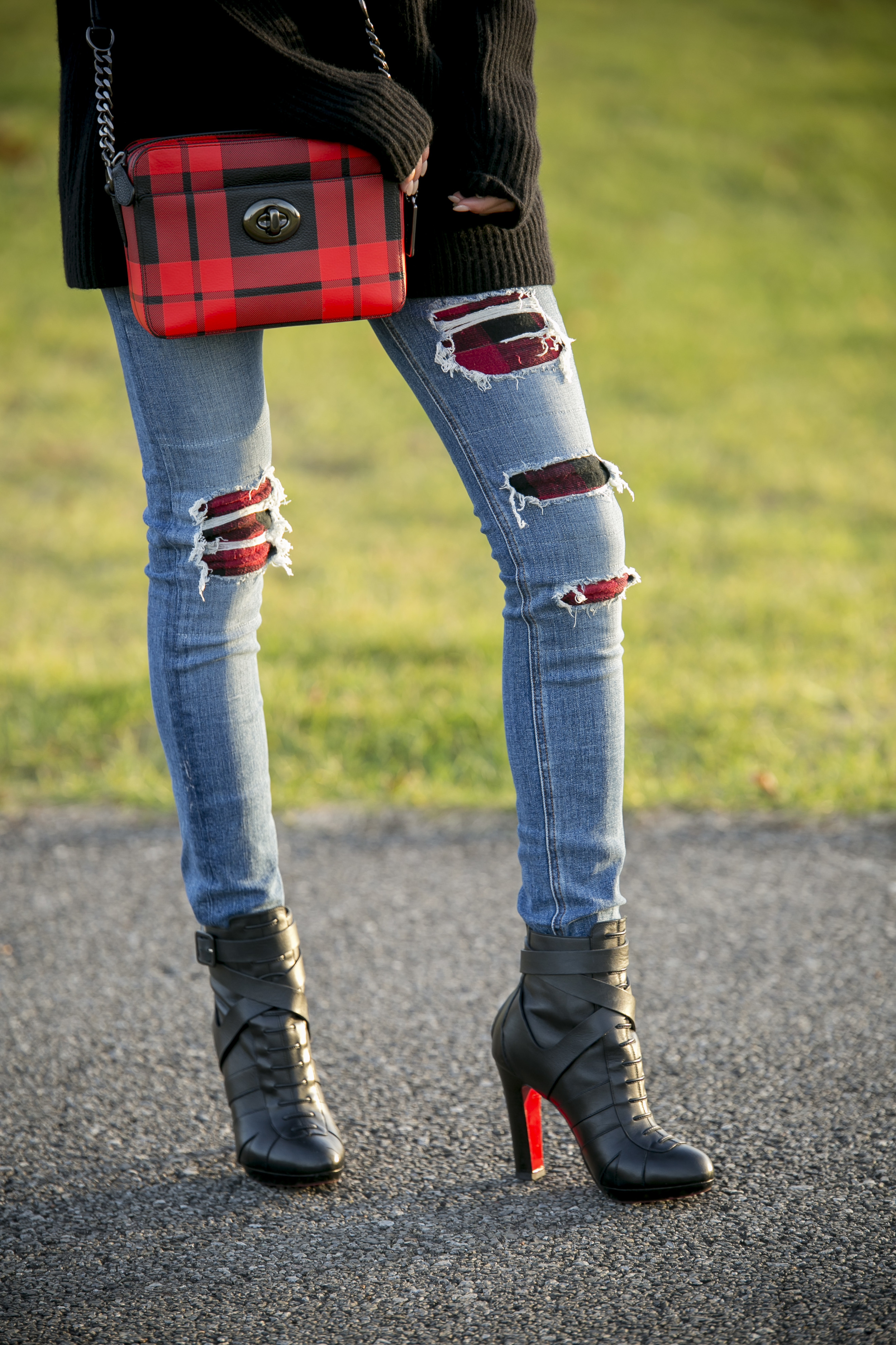 Plaid Coach Bag, Rag & Bone distressed jeans, and Christian Louboutin boots