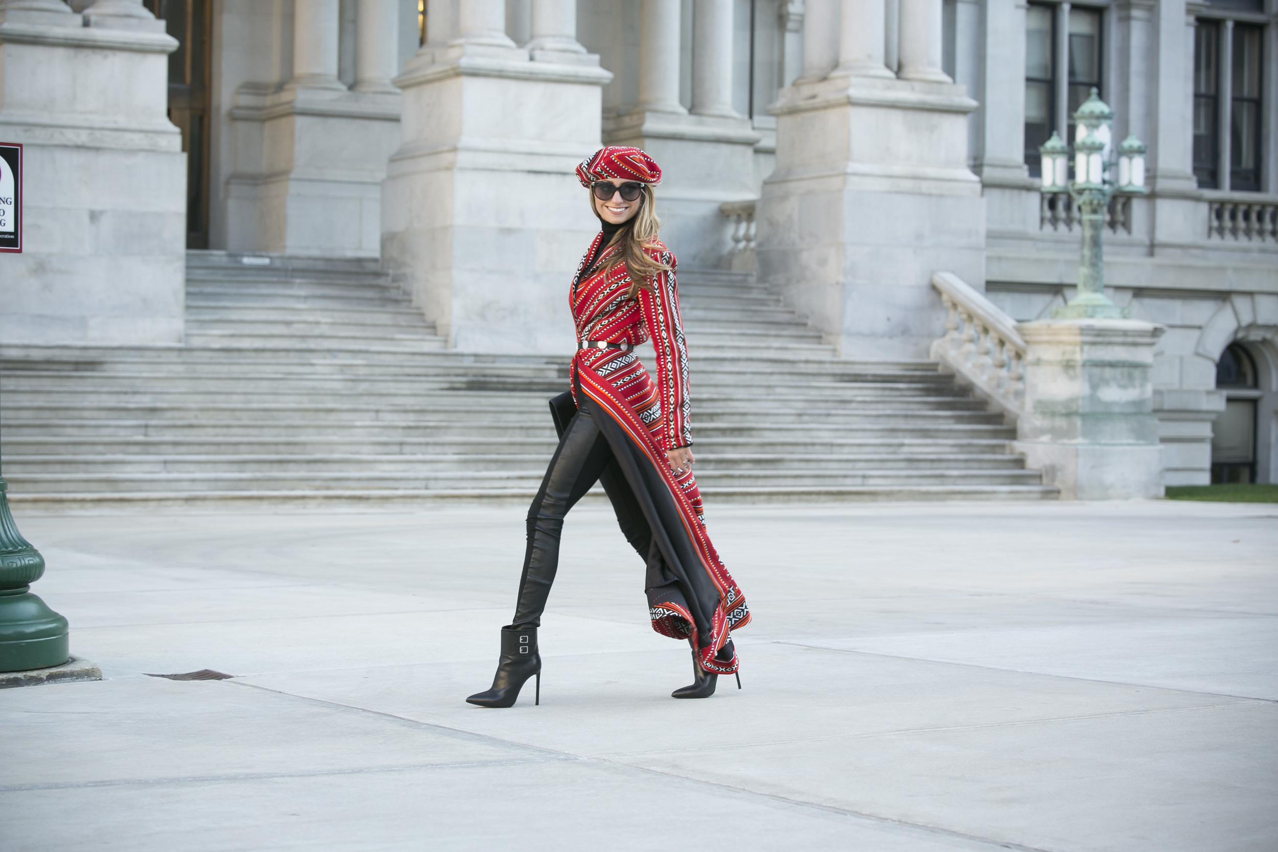 Coat&Beret: Katya Kovtunovich |Belt: Kate Spade |Boots:Saint Laurent( similar here )    Dino Petrocelli Photography