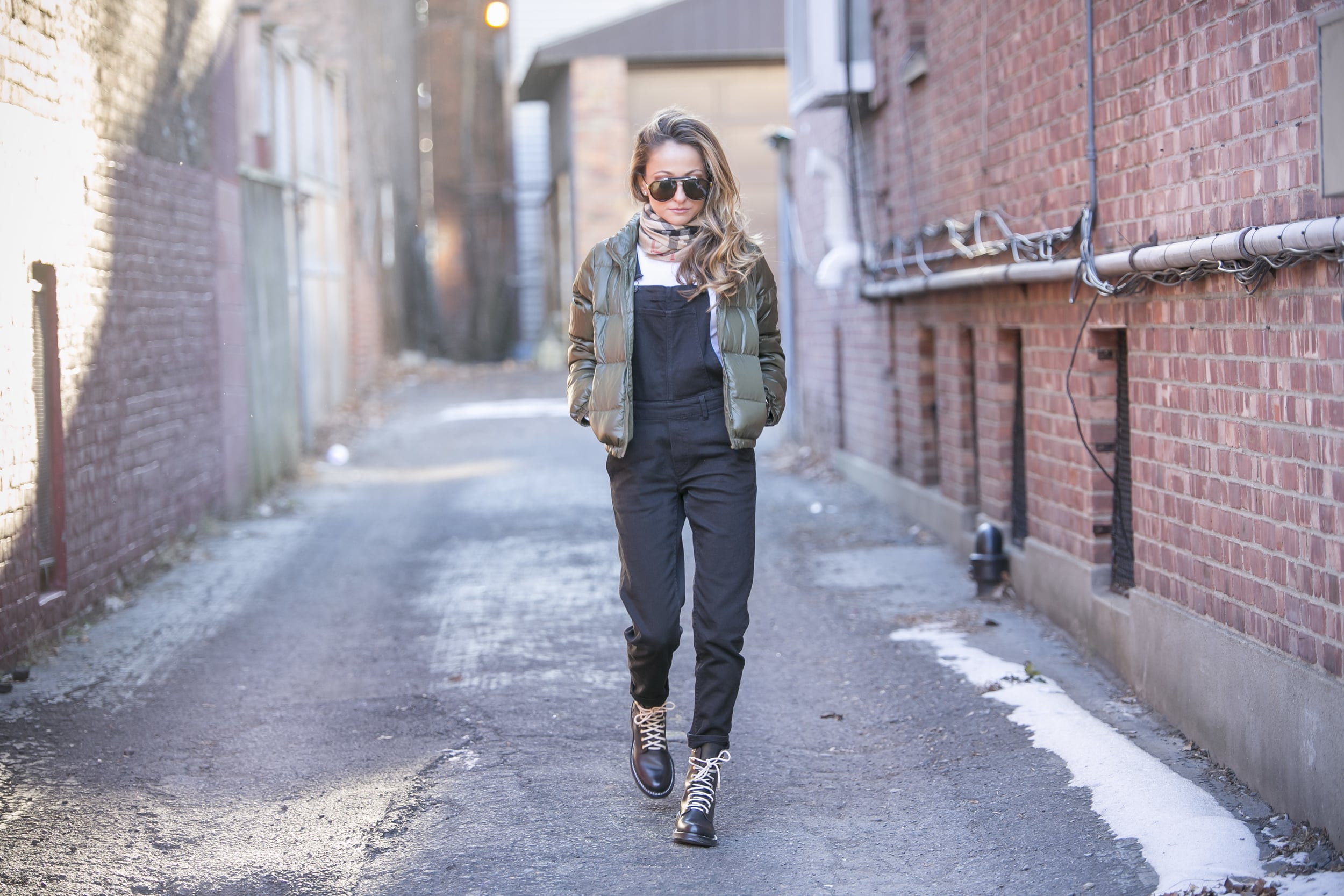 Overalls:H&M ( similar here )| Jacket:J.Crew (older)|Boots: Rag&Bone |Scarf: Burberry     Dino Petrocelli Photography