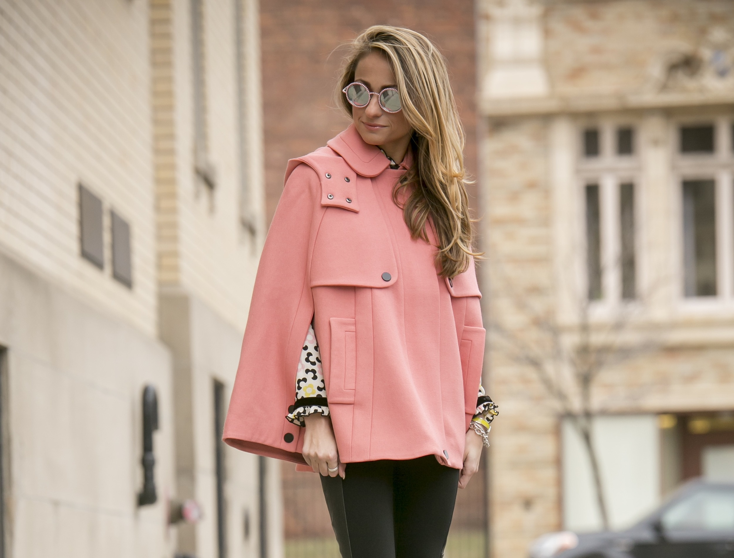 streetstyle featuring pink orla kiely cape