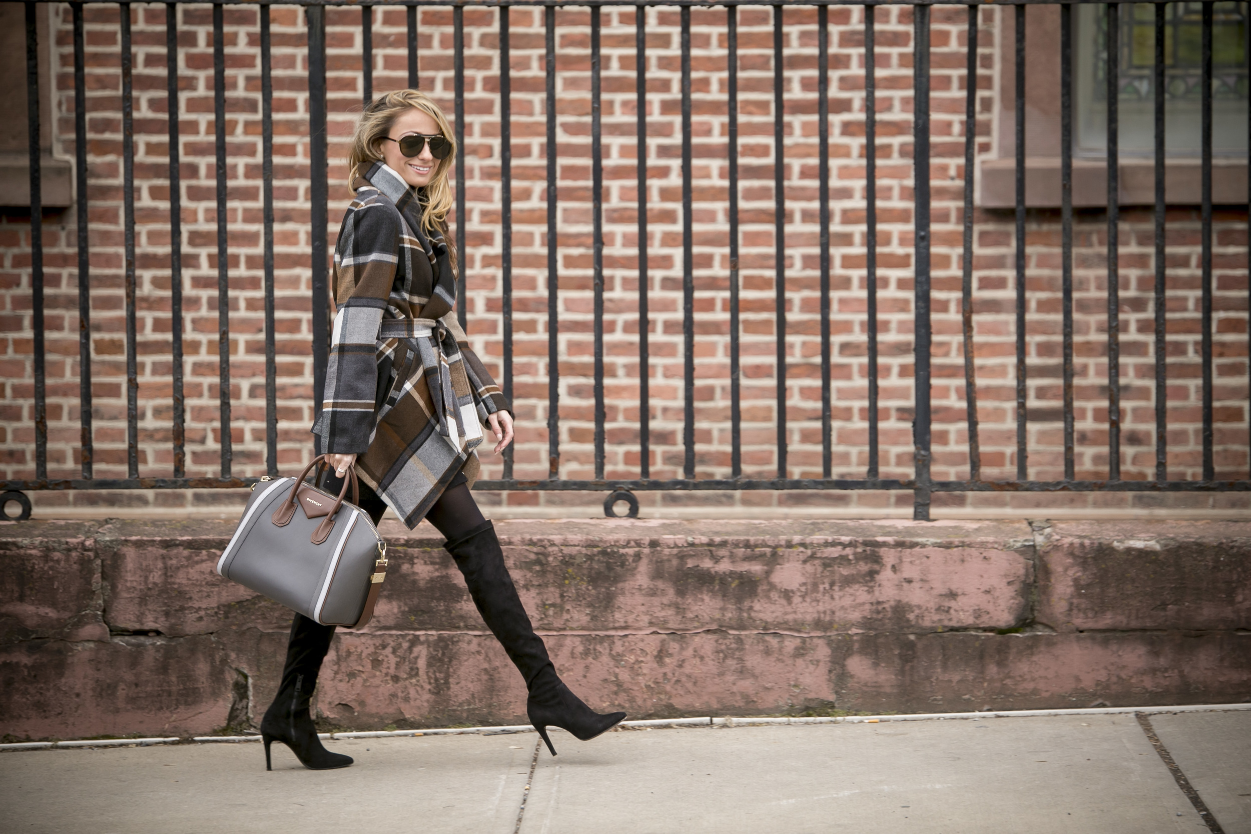 streetstyle after New York fashion week. Givenchy antigona bag and plaid coat