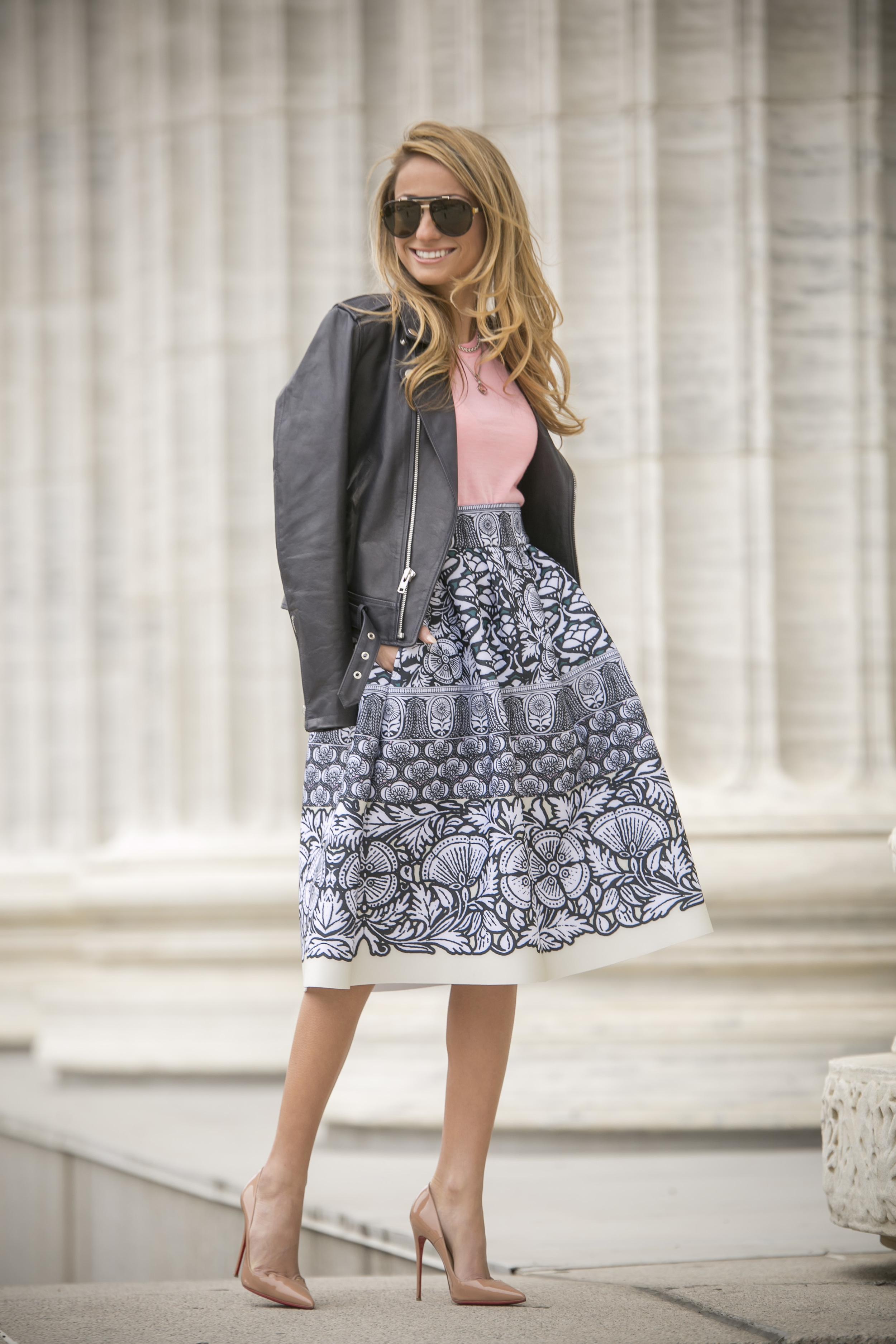 Skirt: Maje |Top: J.Crew |Jacket:Theory(older)|Pumps: Christian Louboutin     Dino Petrocelli Photography