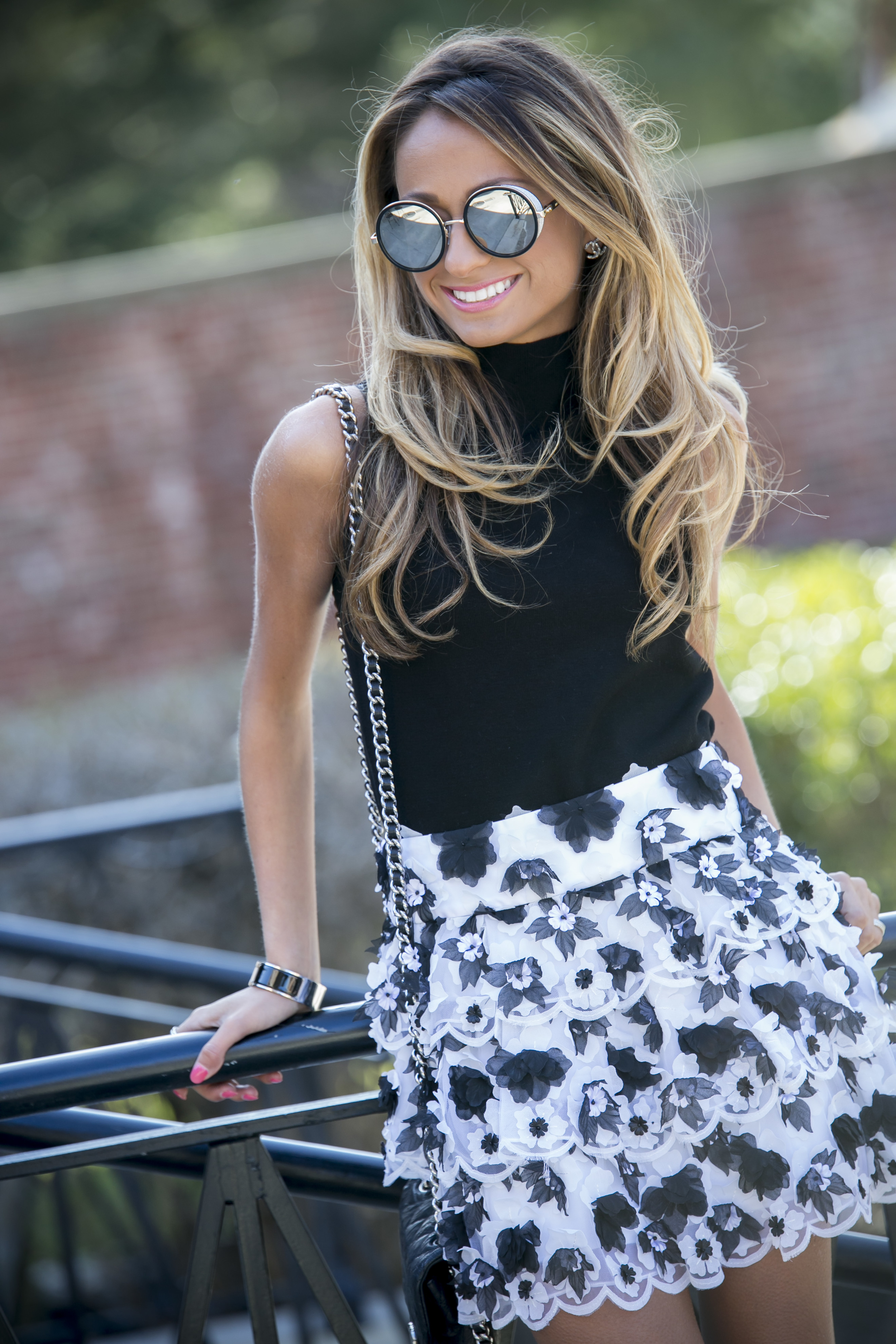 Top: Milly |Skirt:Alice & Olivia(older)|Boots:Christian Louboutin( similar here )|Sunnies: Jimmy Choo     Dino Petrocelli Photography
