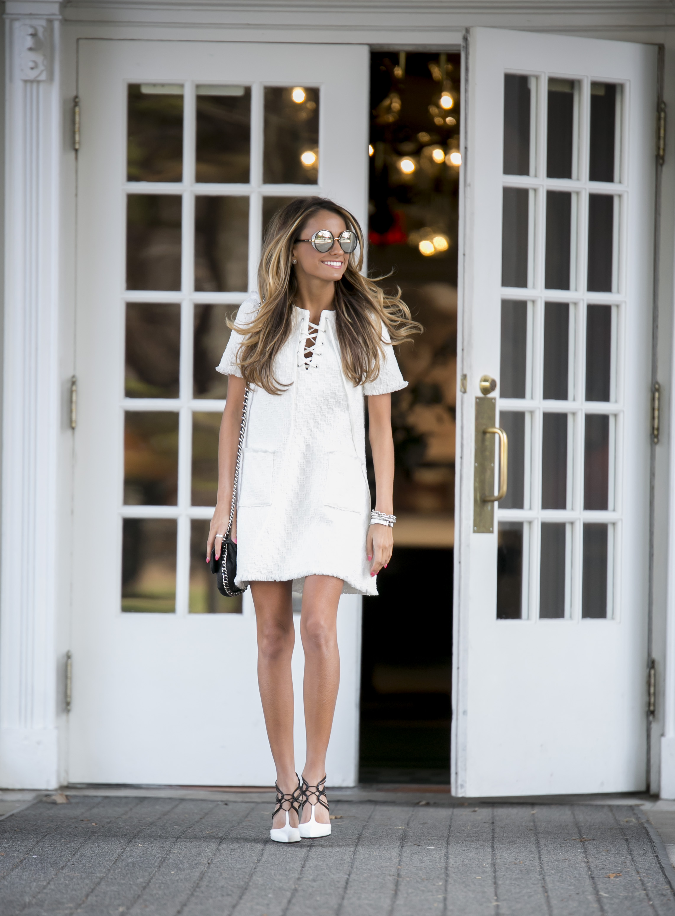 the perfect little white dress worn by Lauren Recchia of North of Manhattan