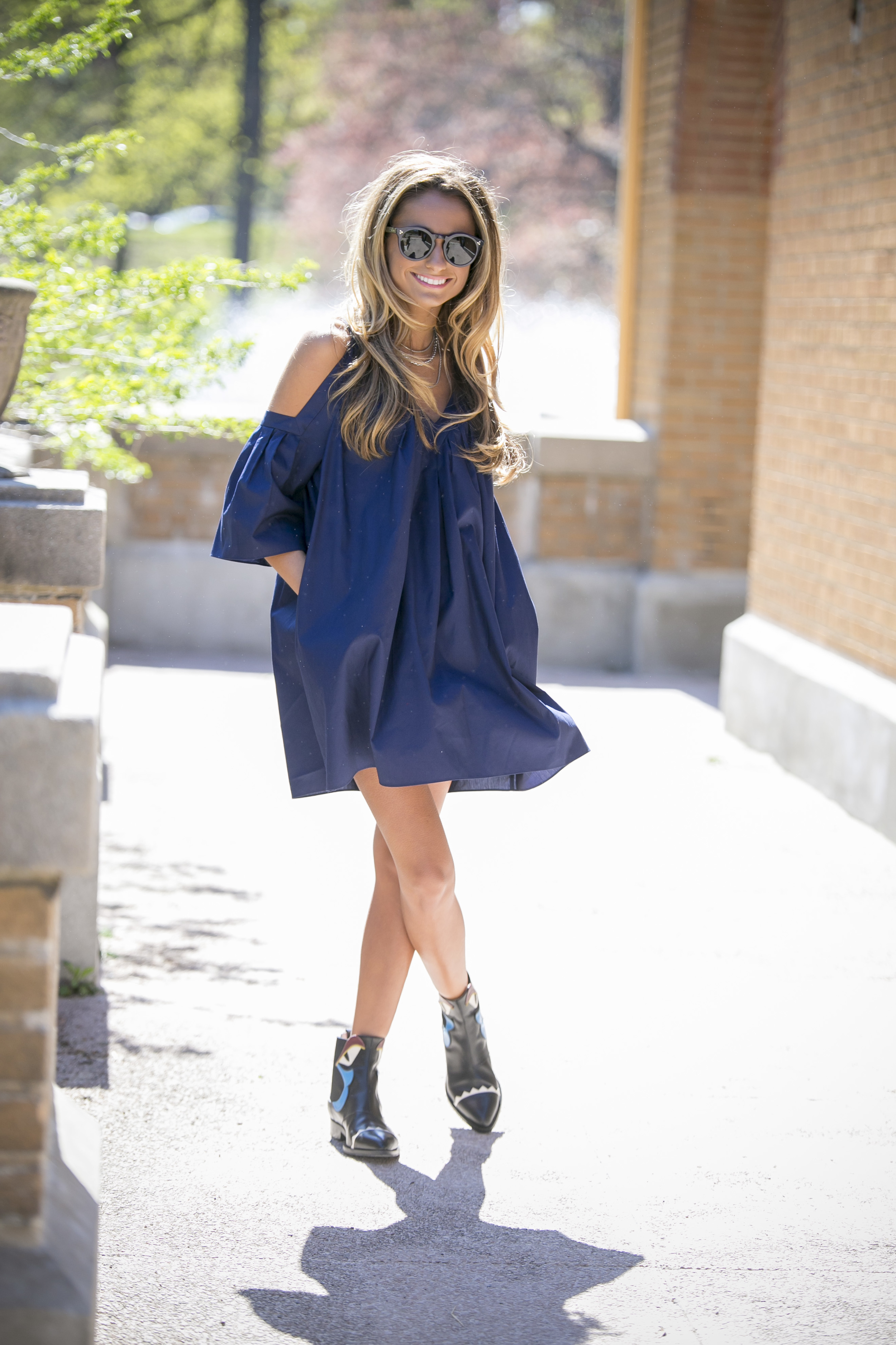 Rebecca Minkoff dress and Fendi booties worn by fashion blogger North of Manhattan