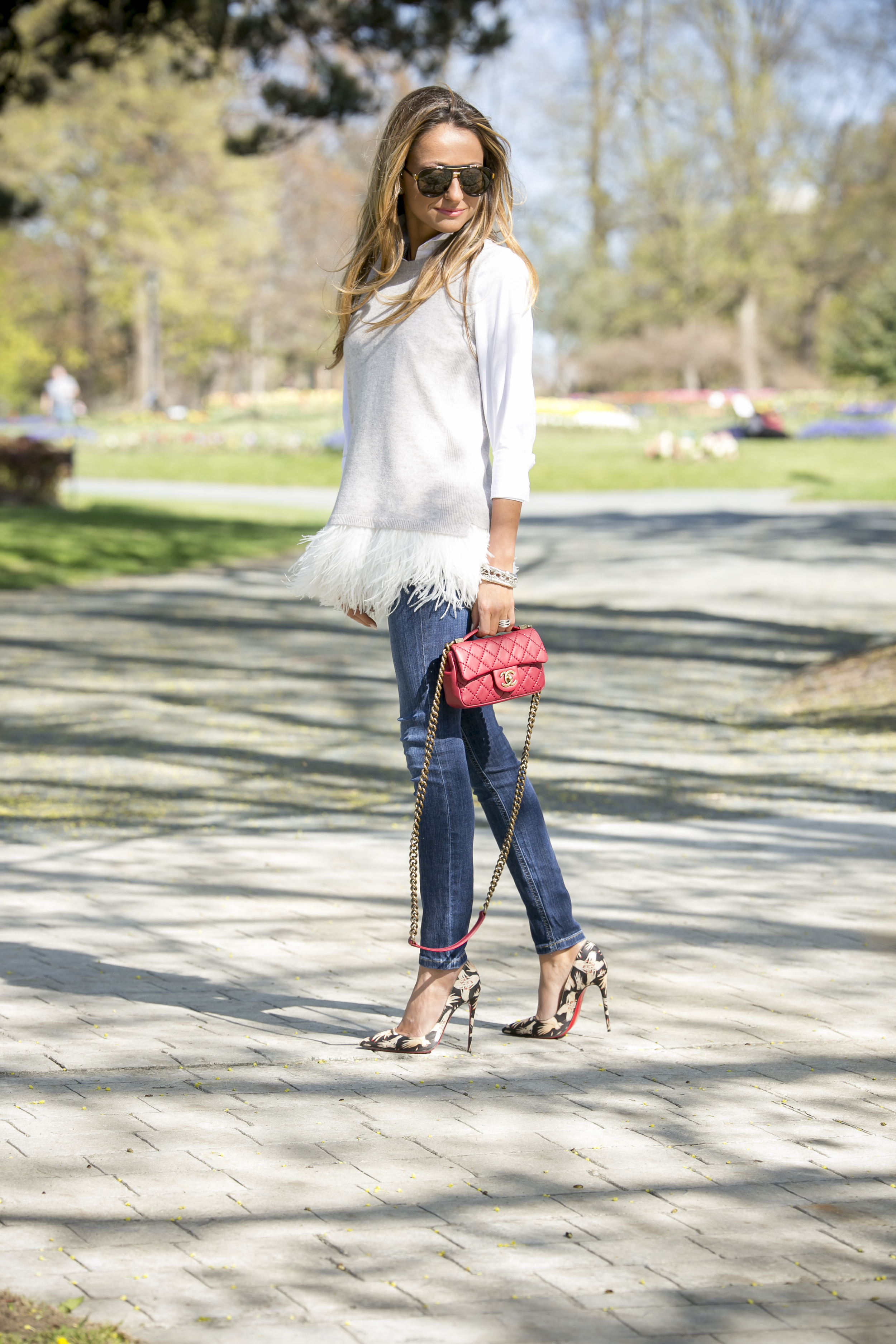 J.Crew  blouse  &  cashmere feather shell |Denim: Joe's Jeans |Pumps:Christian Louboutin ( similar here )    Dino Petrocelli Photography