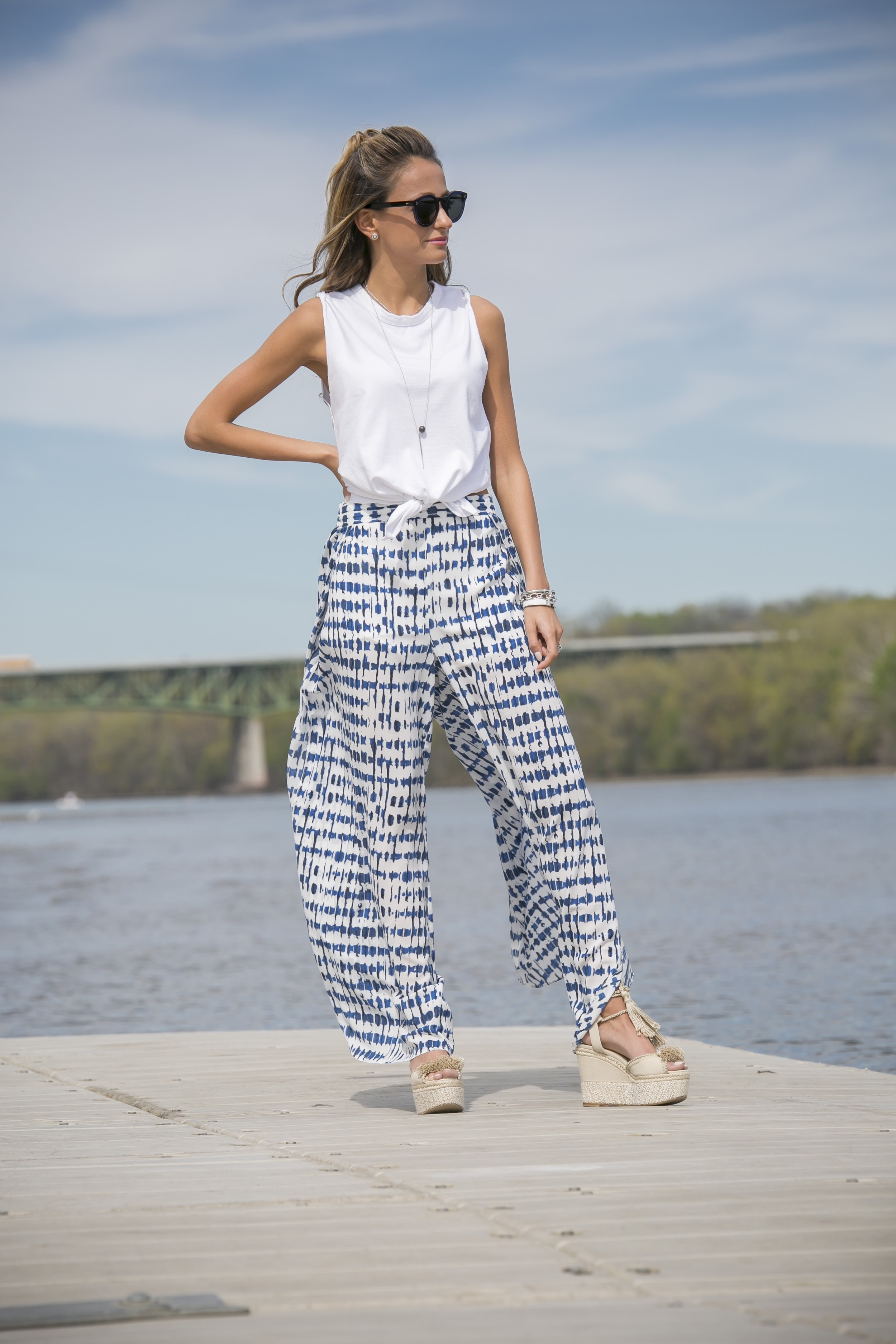 wide leg pants worn on the fashion blog north of manhattan