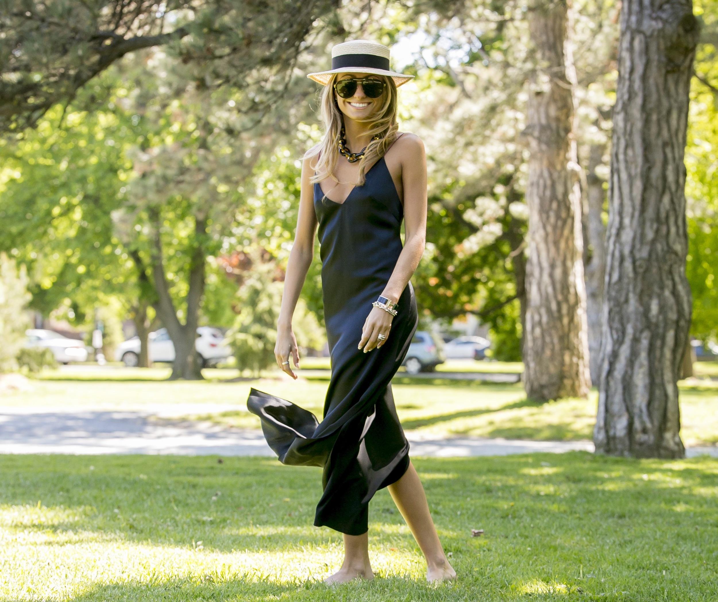 rag and bone black silk slip dress