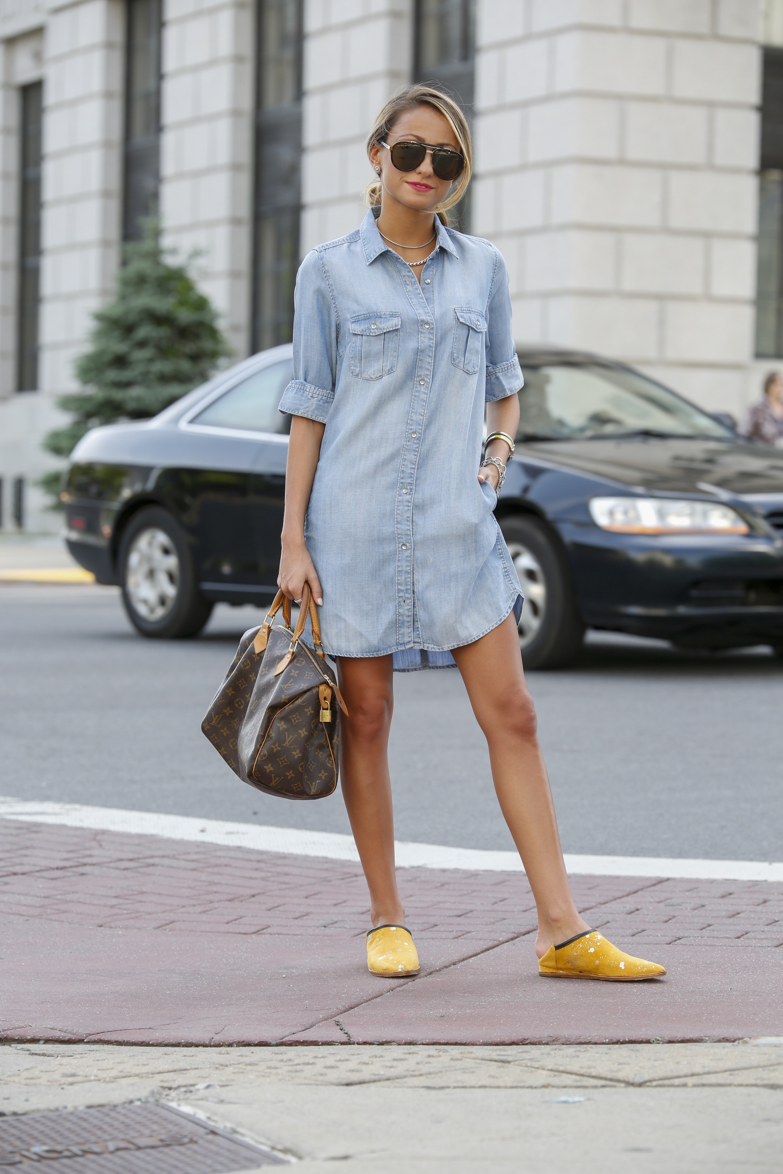 denim dress worn with Georgina Goodman slippers