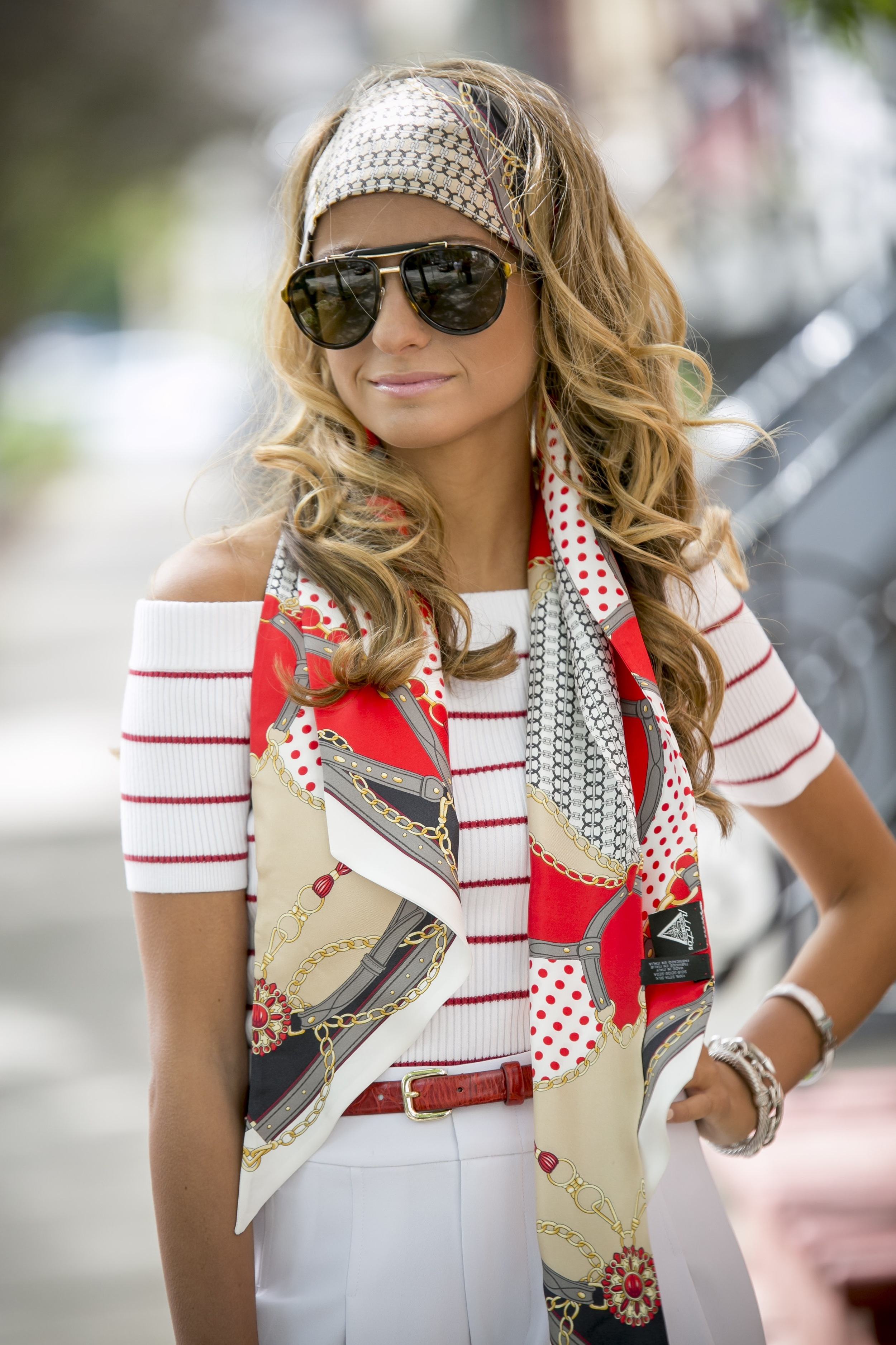 Fashion Blogger North of Manhattan wearing an A Pinto scarf from Intermix with an off of the shoulders red striped sweater from Club Monaco
