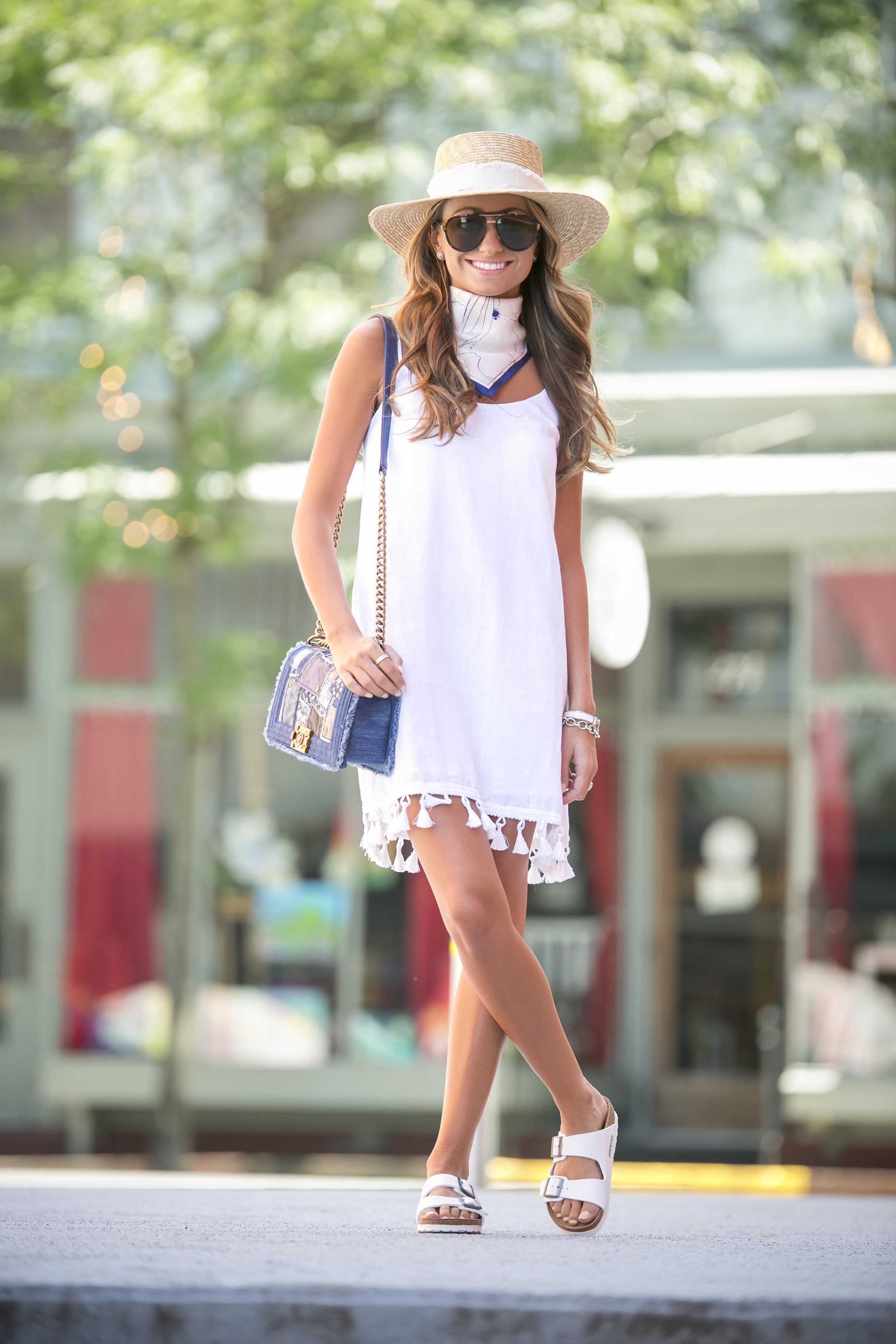 white tassel dress with boater hat