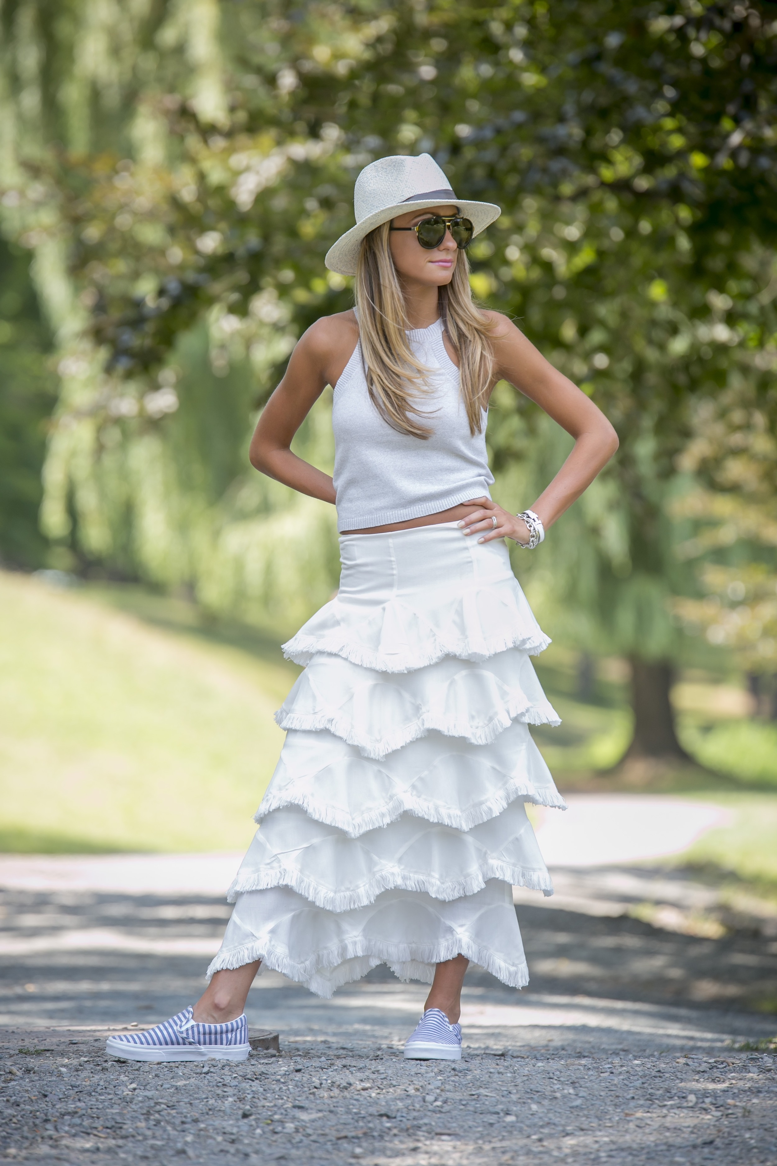 forever21 top paired with an asos tiered ruffle skirt with frayed trims