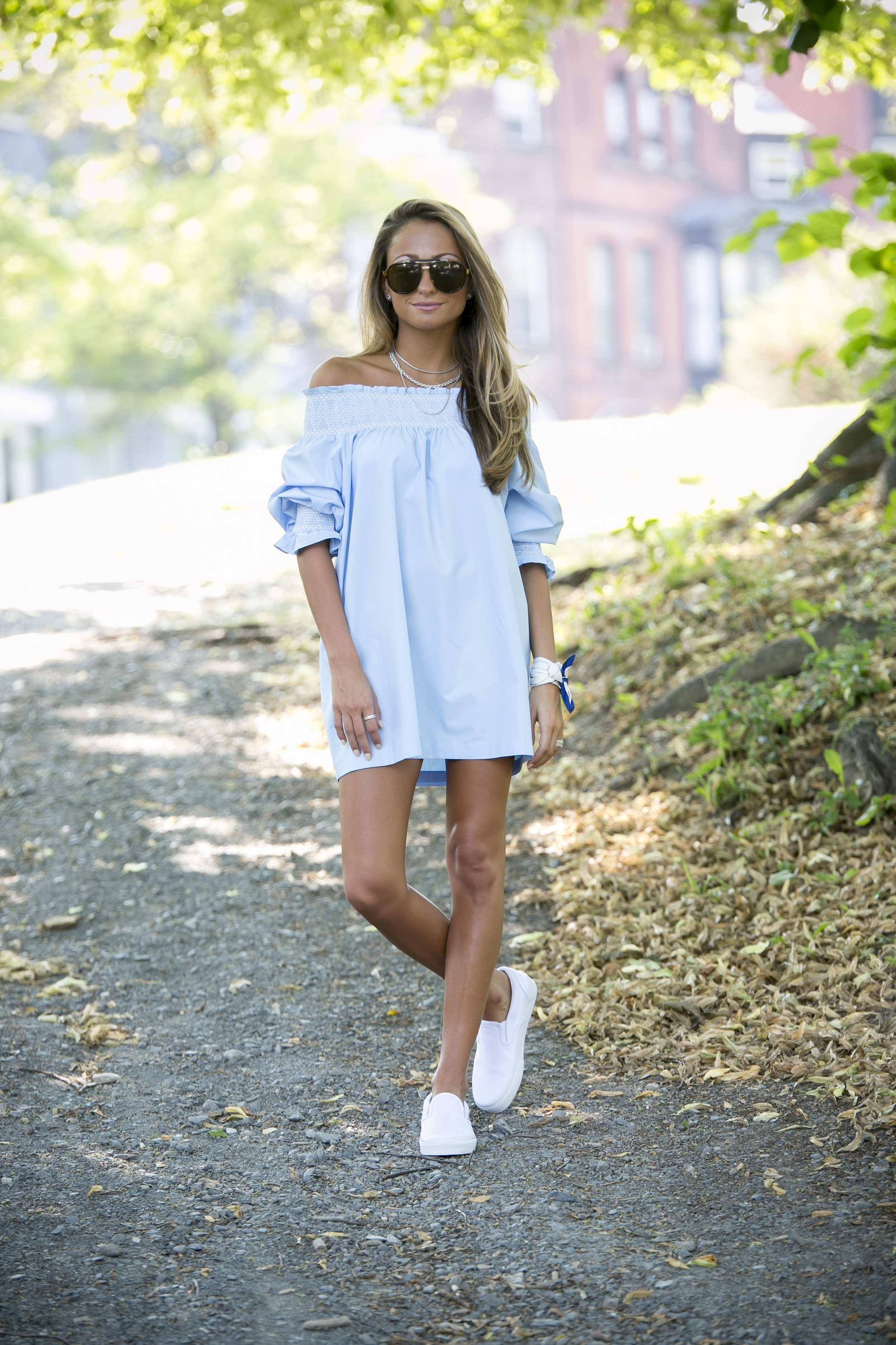 zara off of the shoulder dress trending for summer as seen on fashion blogger north of manhattan