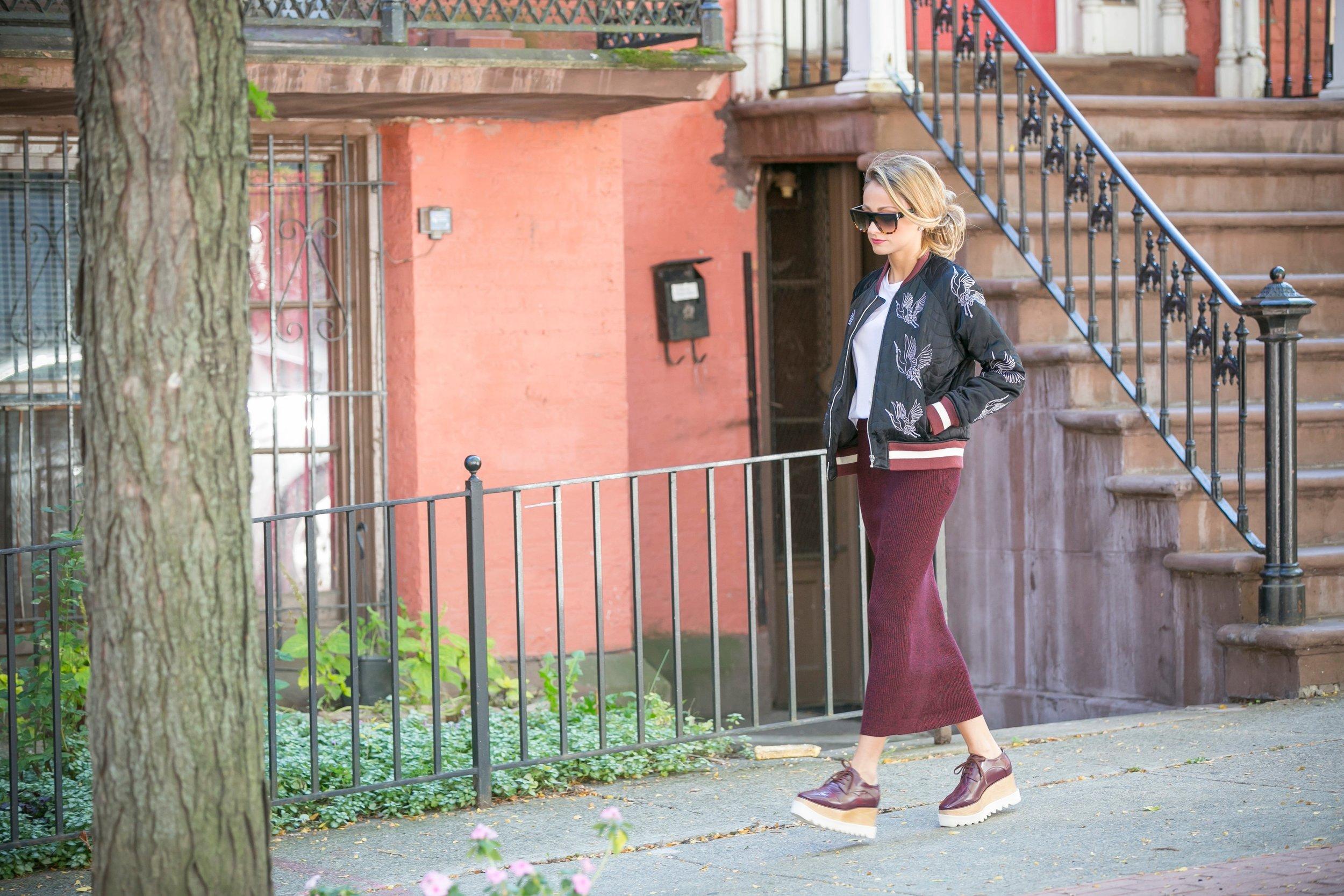fall streetstyle wearing Sandro Paris, Maje, and Stella McCartney