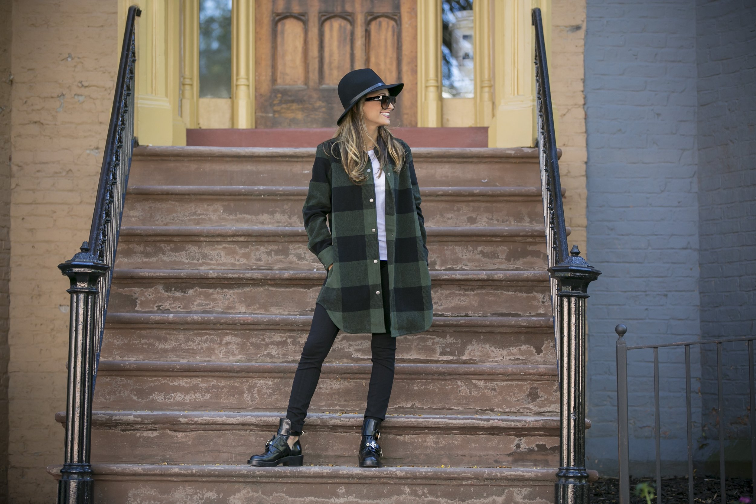 Tee: J.Crew |Jacket: BB Dakota |Leggings: J.Crew |Boots: Balenciaga |Hat: Rag and Bone     Dino Petrocelli Photography