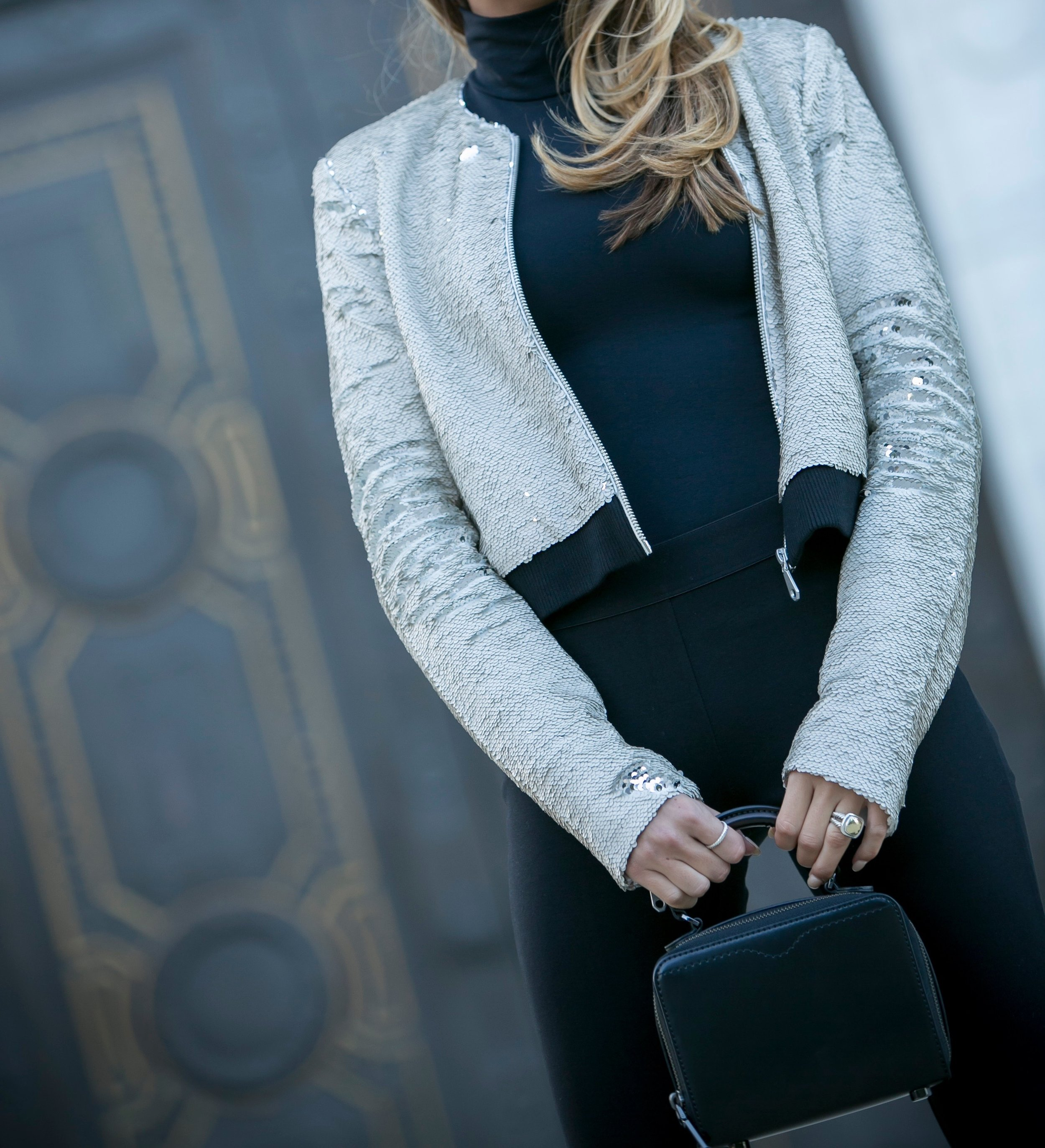 Bomber: Rebecca Minkoff |Bodysuit: Theory |Leggings: J.Crew |Boots: Joie |Bag: Rebecca Minkoff     Dino Petrocelli Photography
