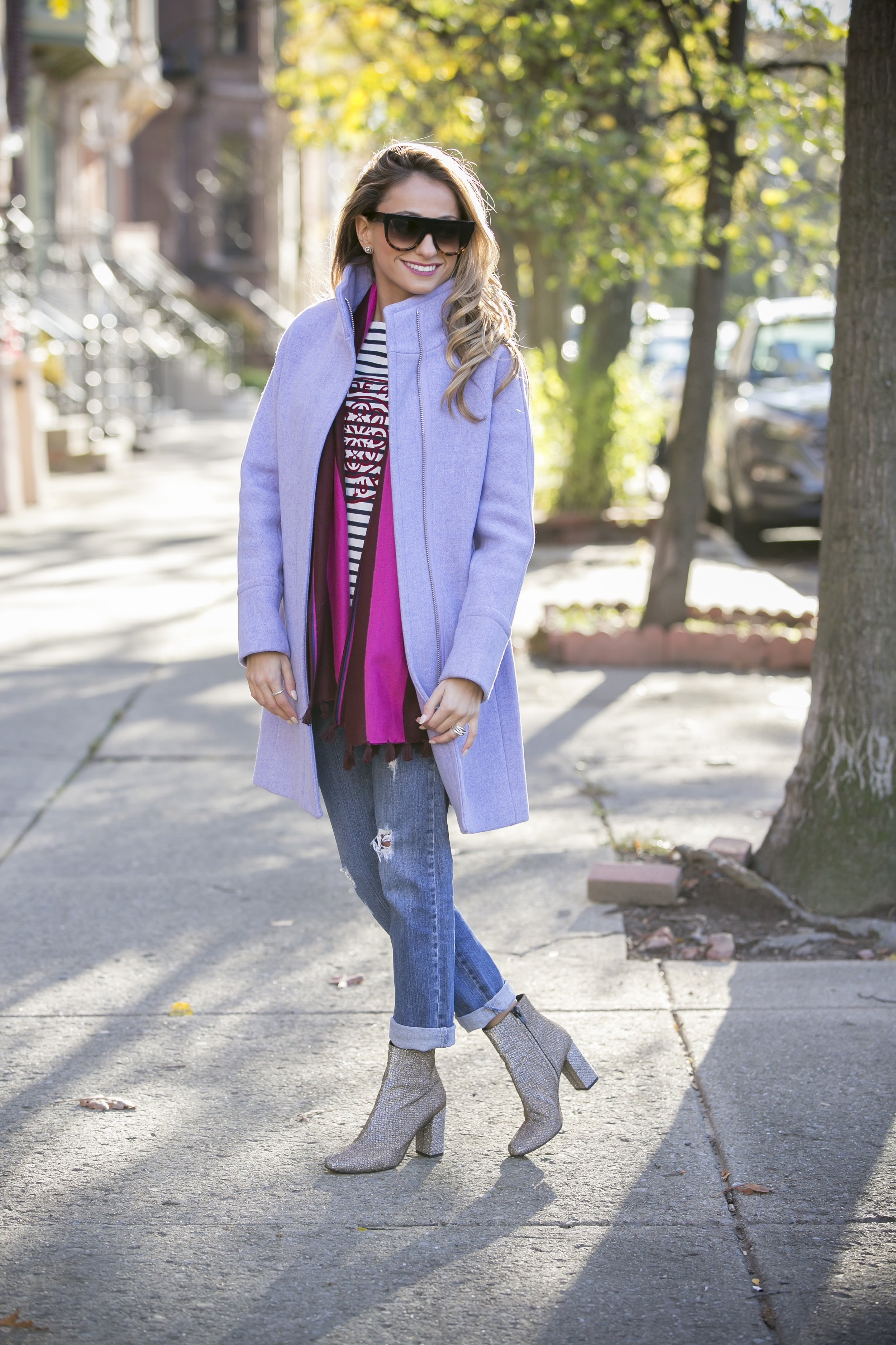 Coat: J.Crew |Tee: J.Crew |Scarf: J.Crew |Denim:Stella McCartney(older)|Booties: Saint Laurent     Dino Petrocelli Photography