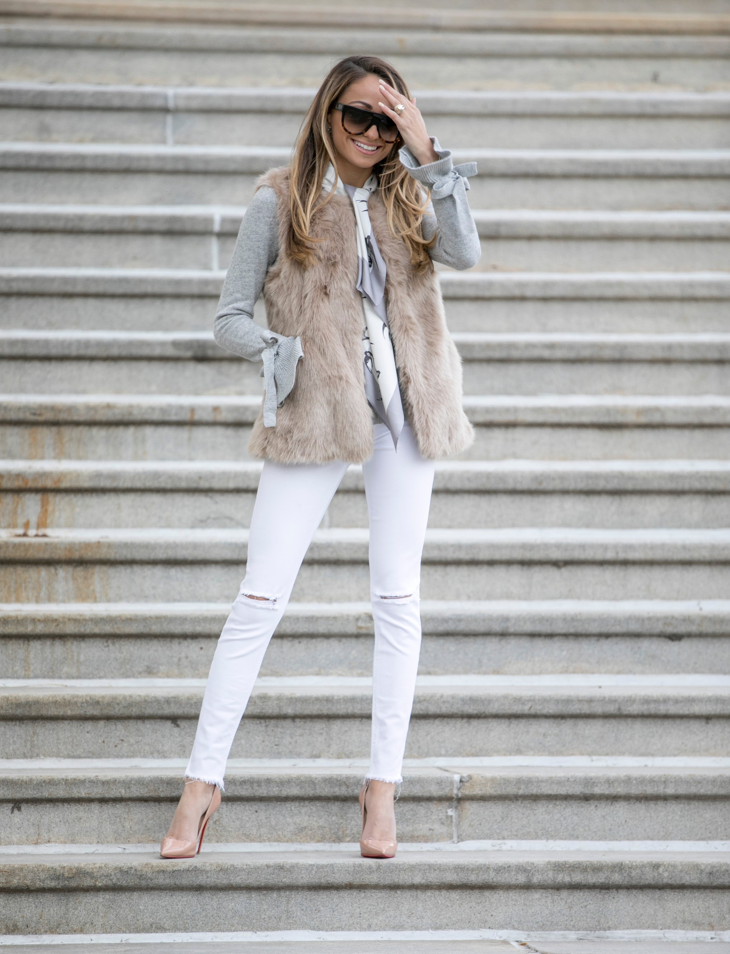 banana republic fur vest