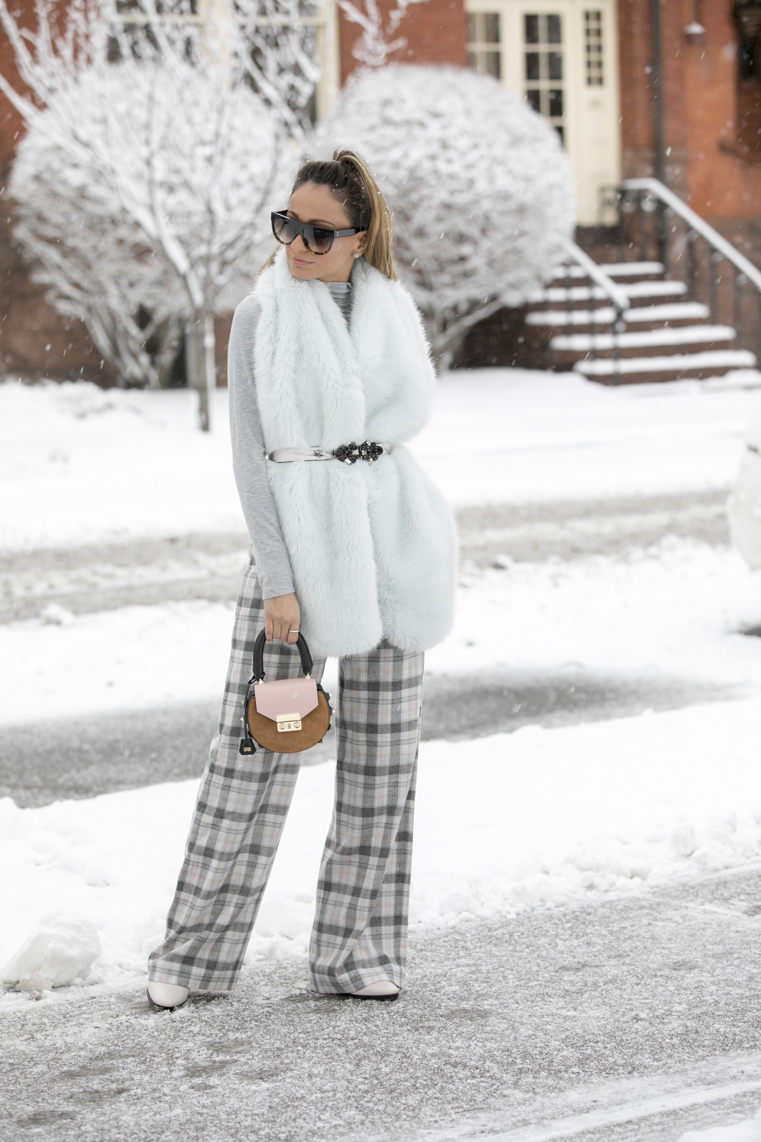 faux fur and club monaco plaid pants