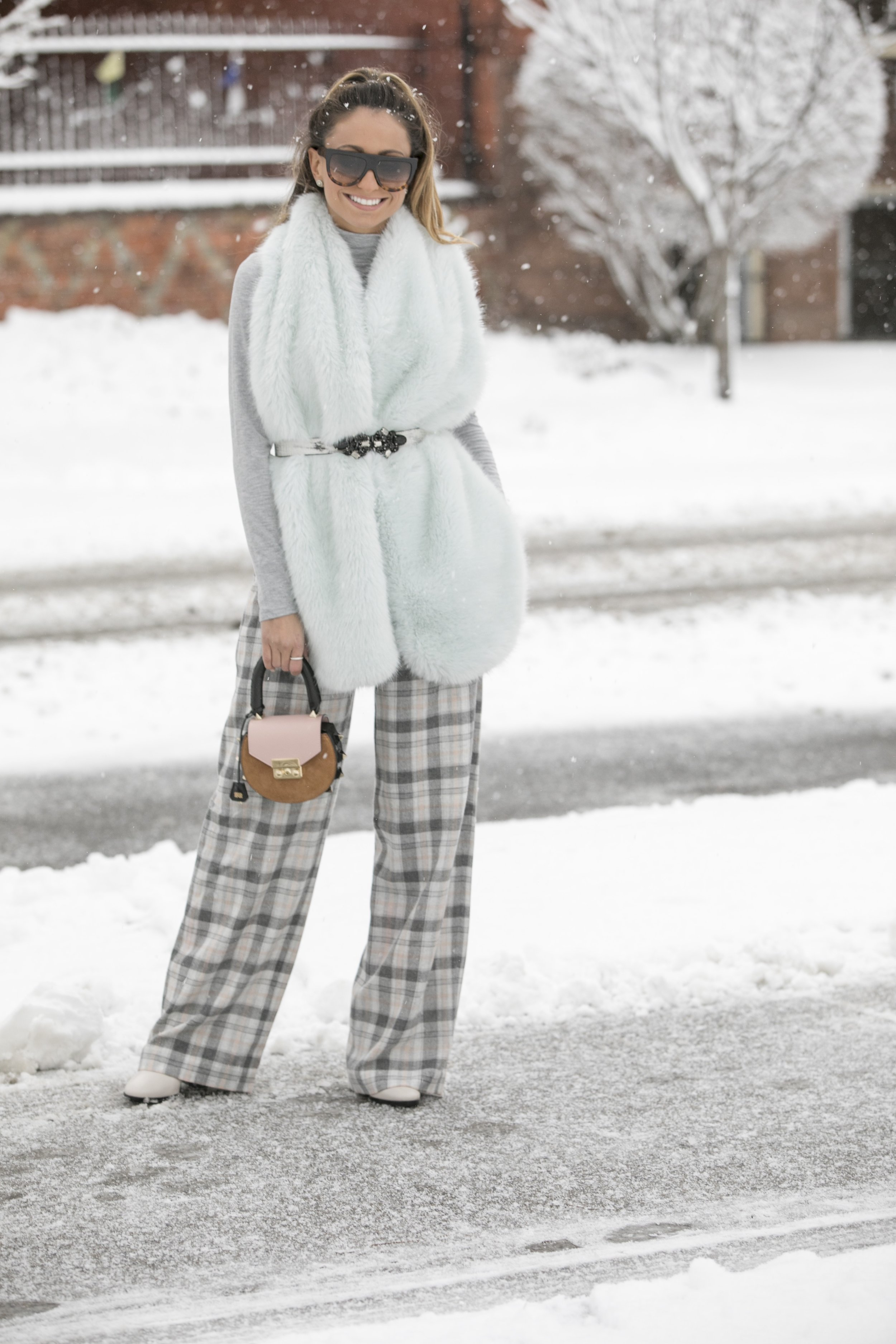 winter chic style in fur and plaid