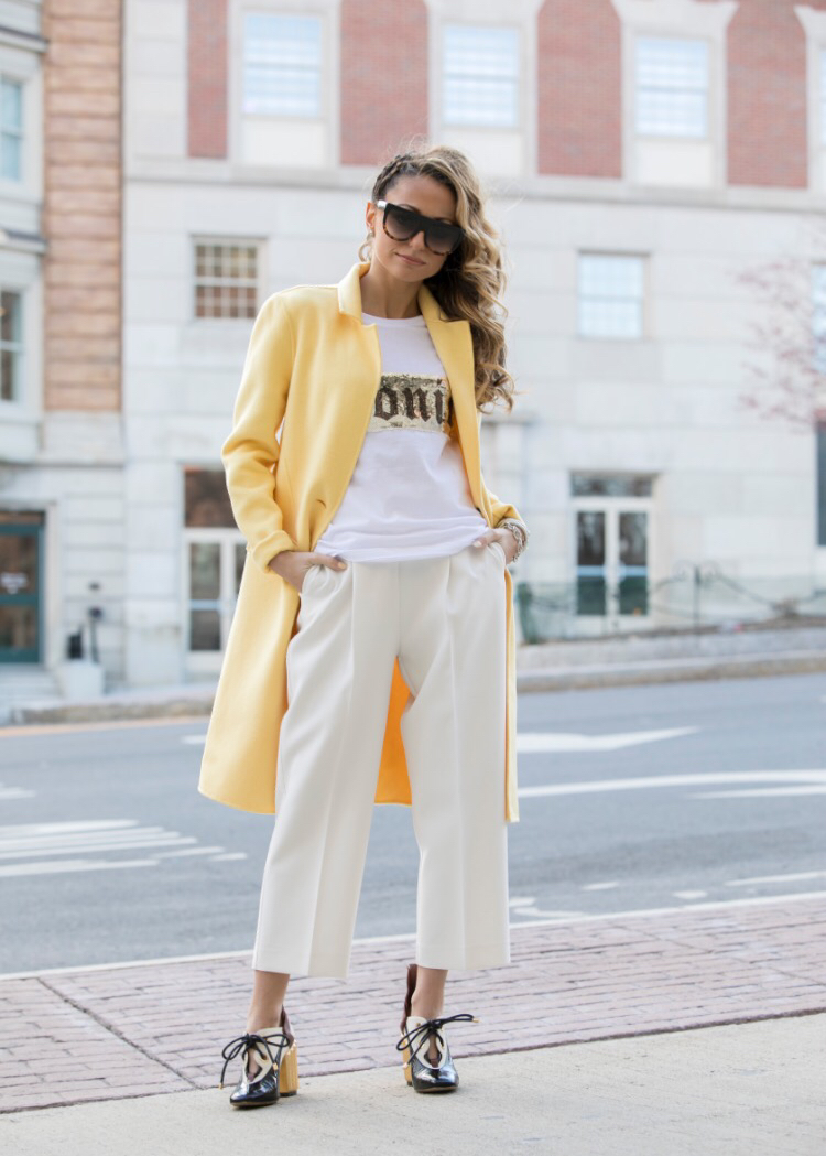Tee:Happiness The Brand|Culottes:Zara(older)|Coat:Zara|Shoes:Christian Dior    Dino Petrocelli Photography      Rumors Salon & Spa