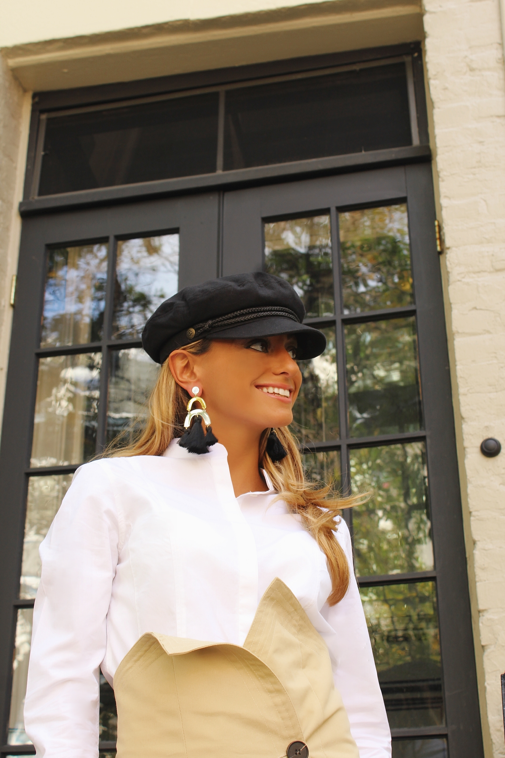 Blouse: Frame |Skirt: Storets |Booties:Gucci|Hat: Brixton |Earrings: Baublebar