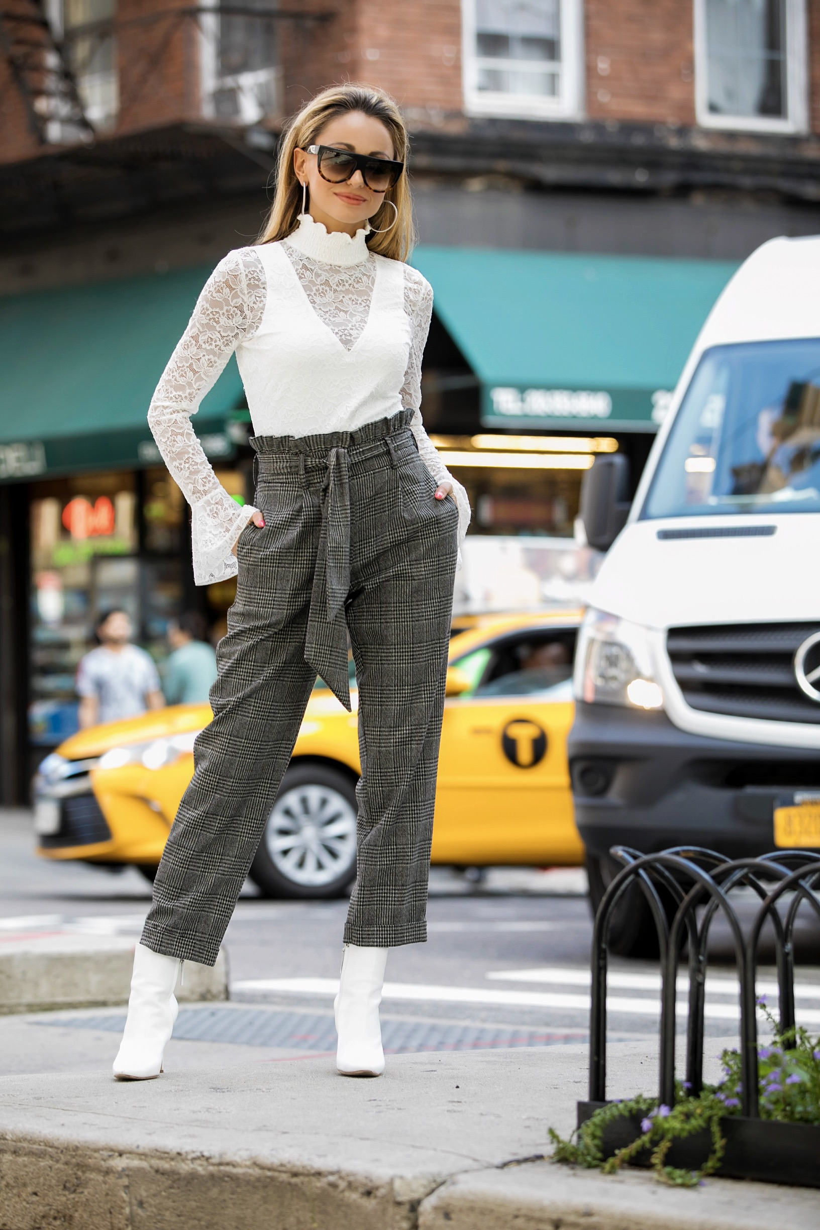 lauren recchia in intermix lace bodysuit, topshop mensy trousers, and manolo blahnik booties