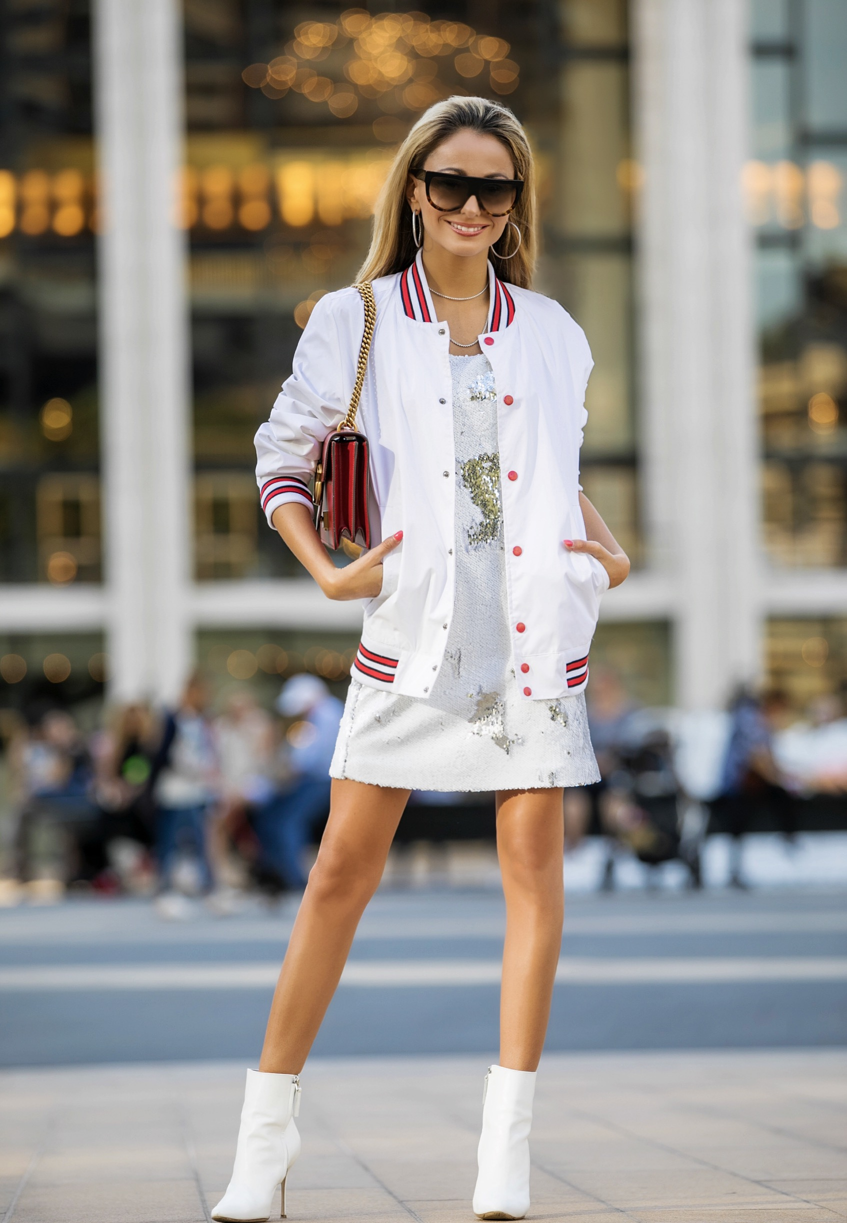 sequin streetstyle at Lincoln Center NYC