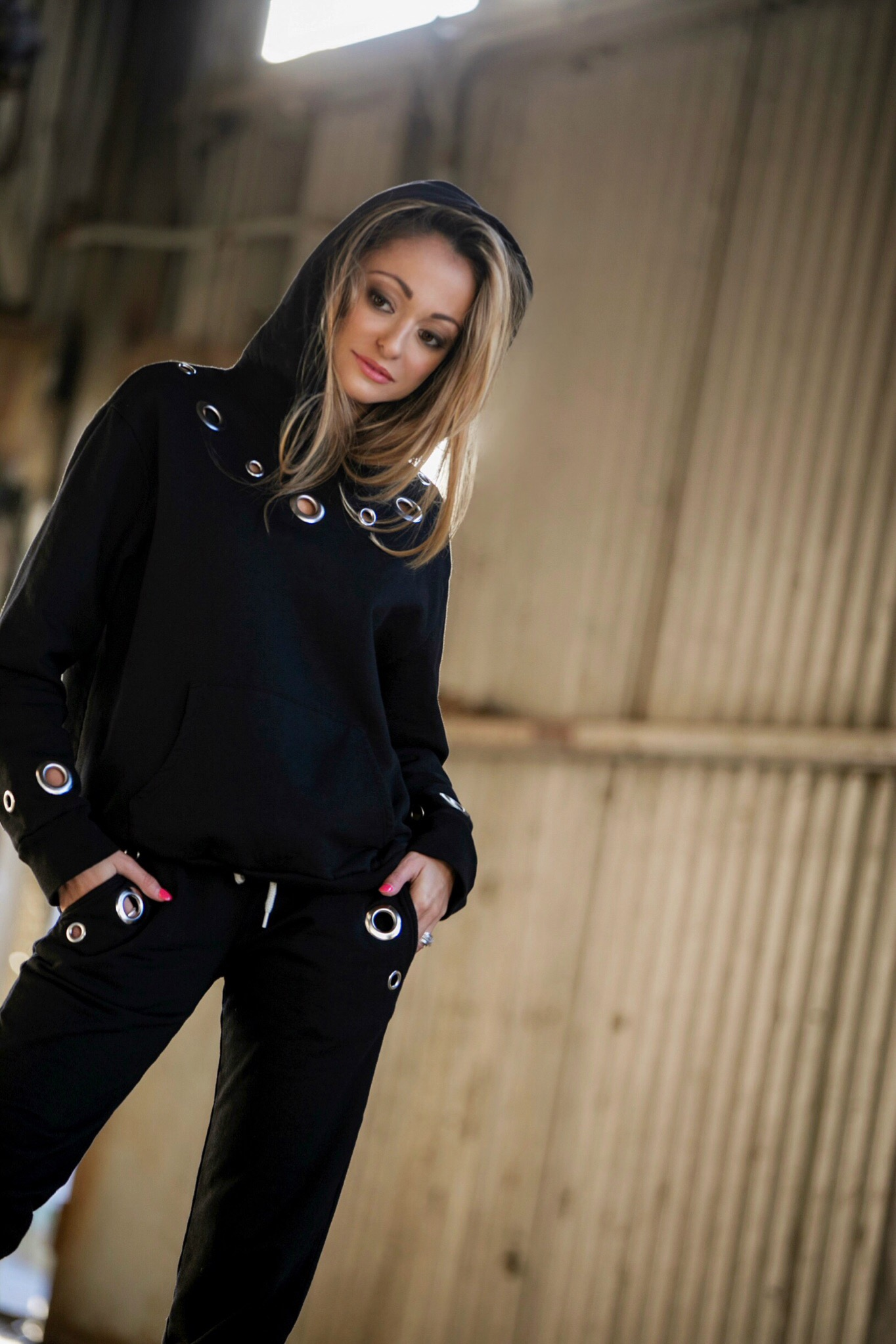 monrow hoodie and sweats with grommets