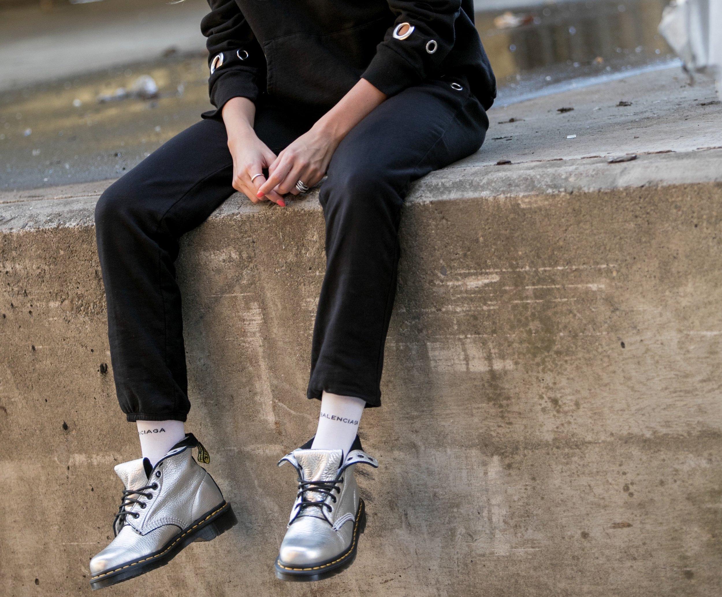 Hoody: Monrow |Sweatpants: Monrow |Socks: Balenciaga |Boots: Dr. Marten's     Dino Petrocelli Photography