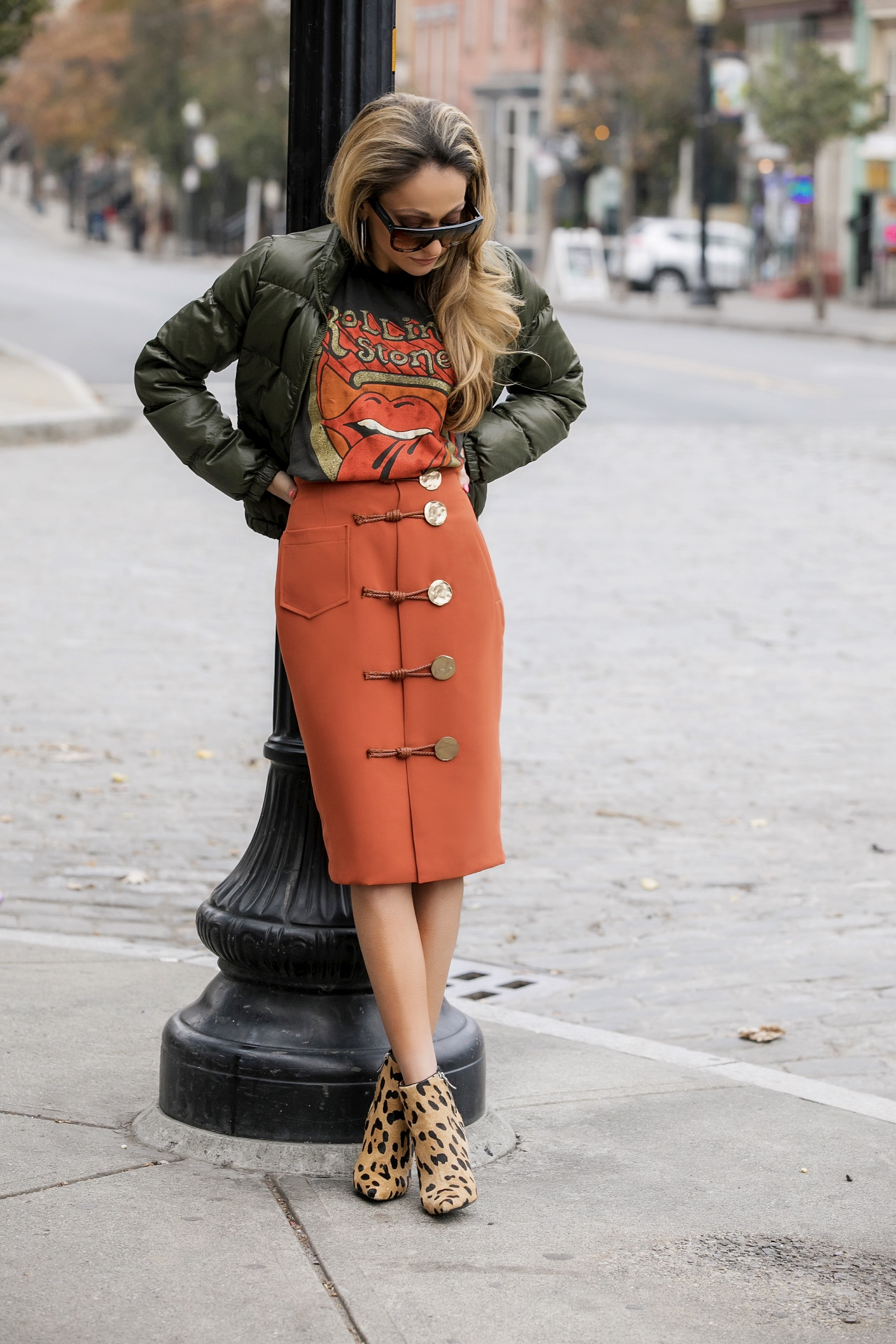 NYC streetstyle in madeworn tee, storets skirt, and leopard booties
